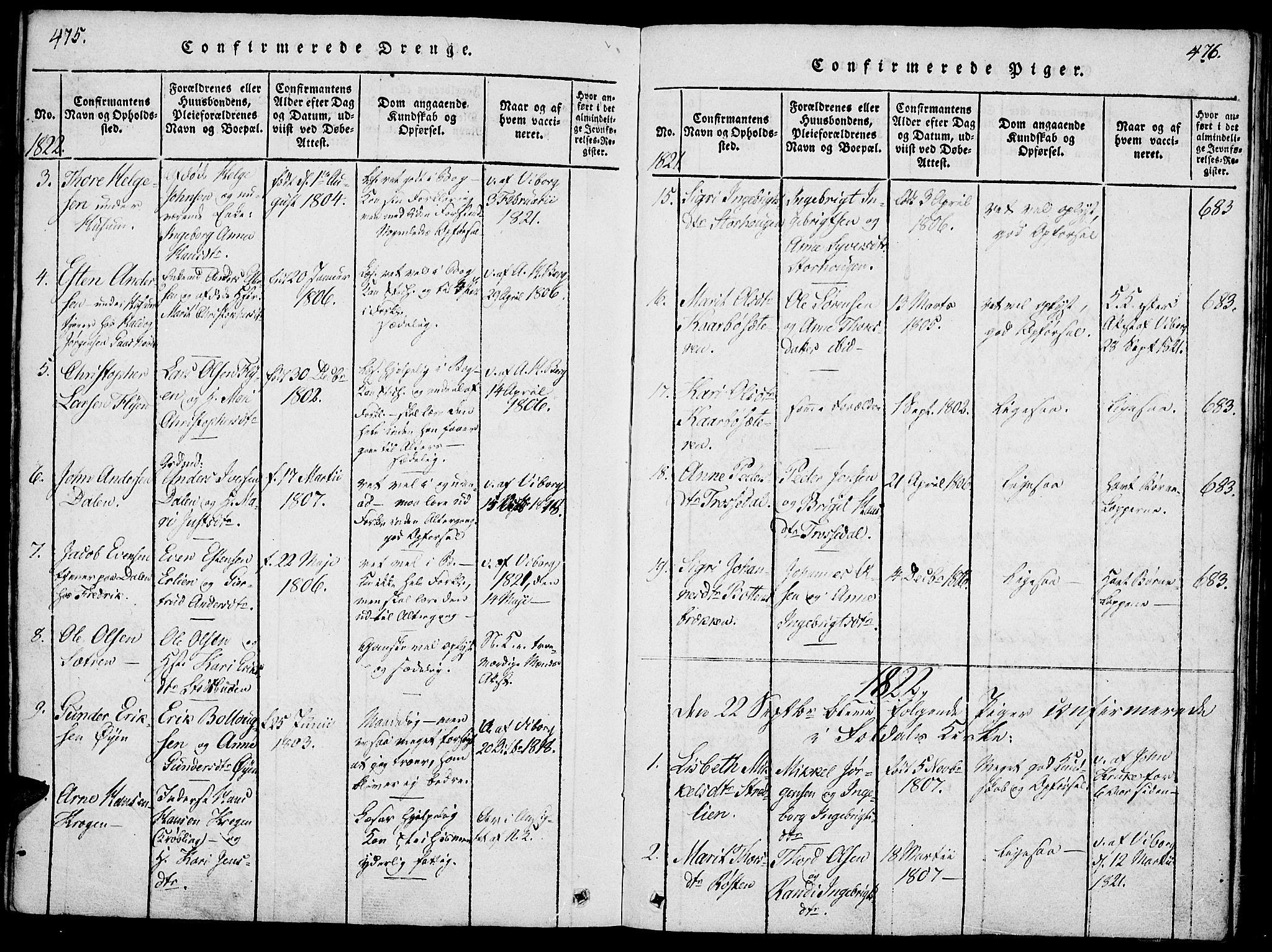 SAH, Lesja prestekontor, Ministerialbok nr. 4, 1820-1829, s. 475-476