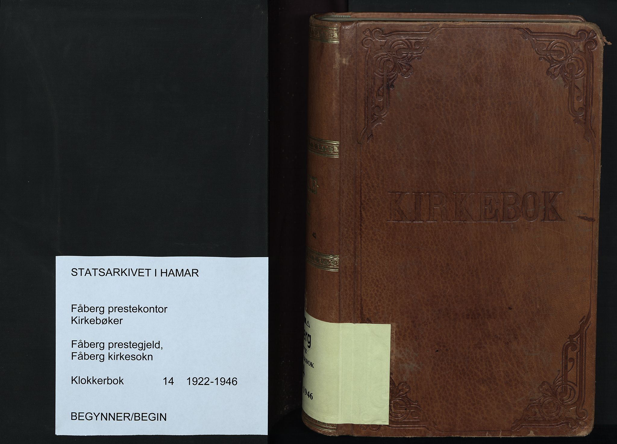 SAH, Fåberg prestekontor, Klokkerbok nr. 14, 1922-1946