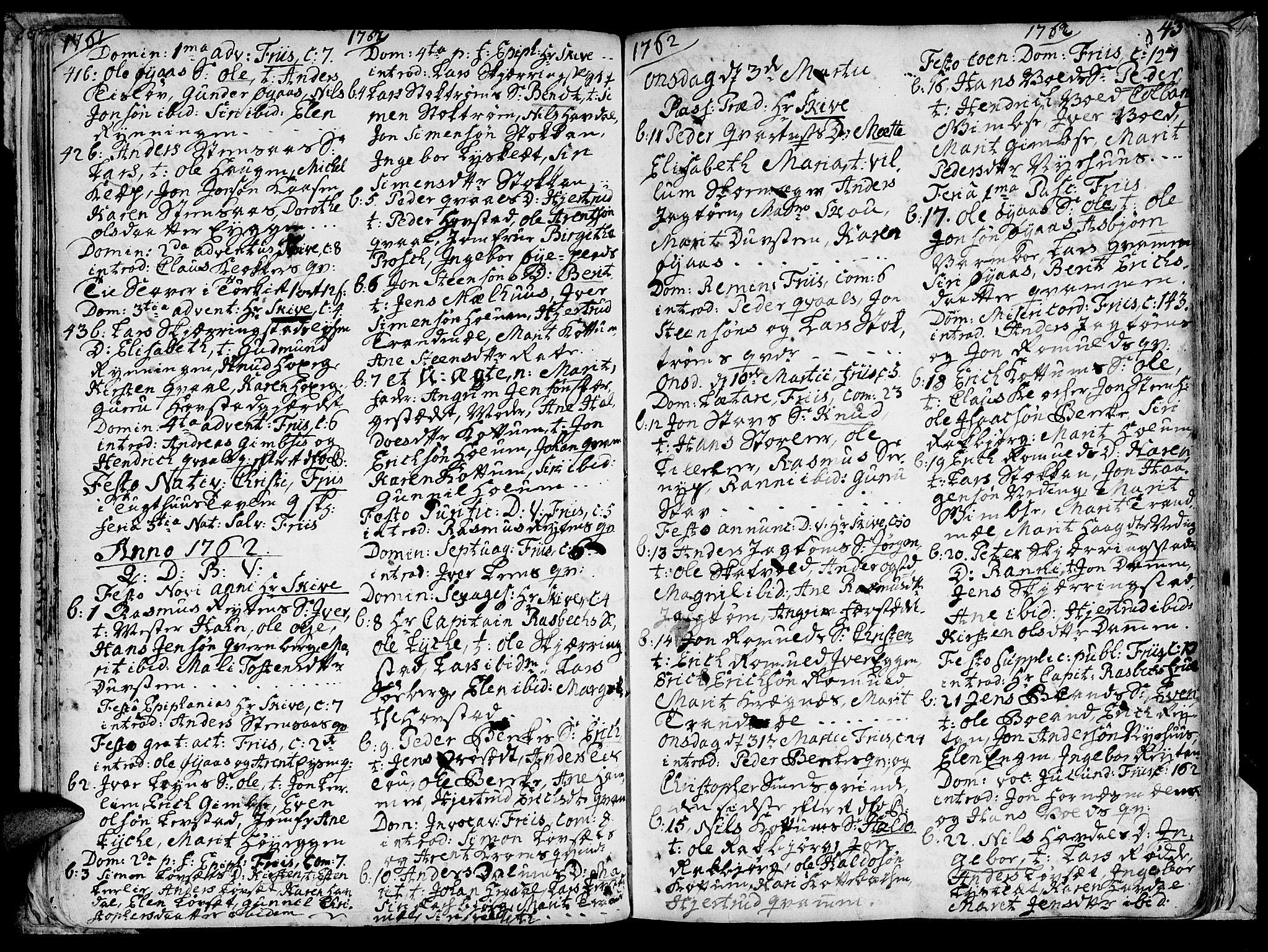 SAT, Ministerialprotokoller, klokkerbøker og fødselsregistre - Sør-Trøndelag, 691/L1057: Ministerialbok nr. 691A01 /1, 1740-1767, s. 43