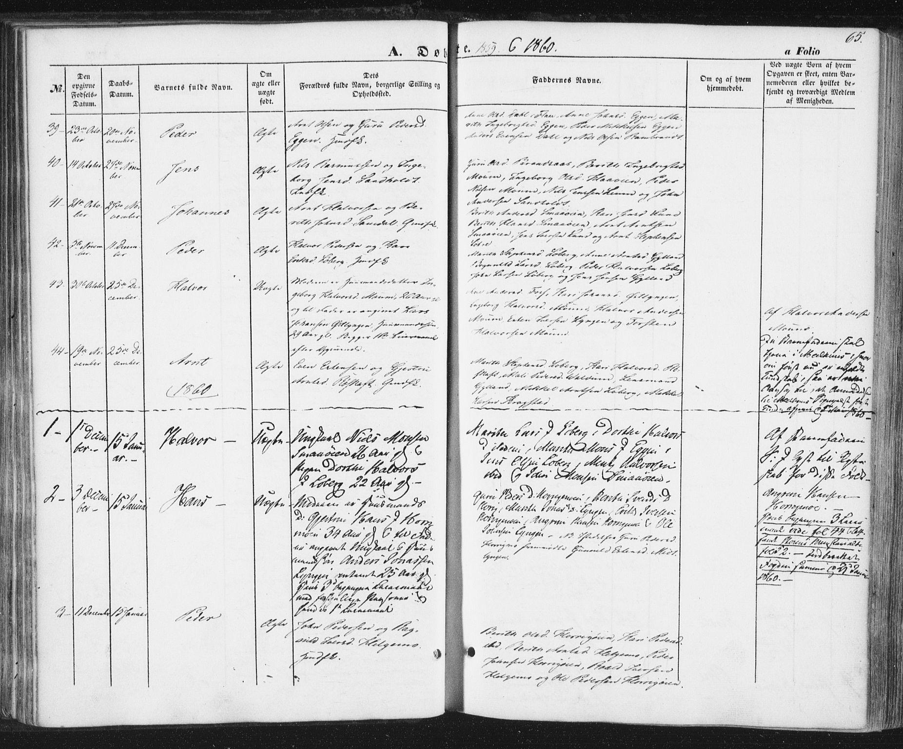 SAT, Ministerialprotokoller, klokkerbøker og fødselsregistre - Sør-Trøndelag, 692/L1103: Ministerialbok nr. 692A03, 1849-1870, s. 65