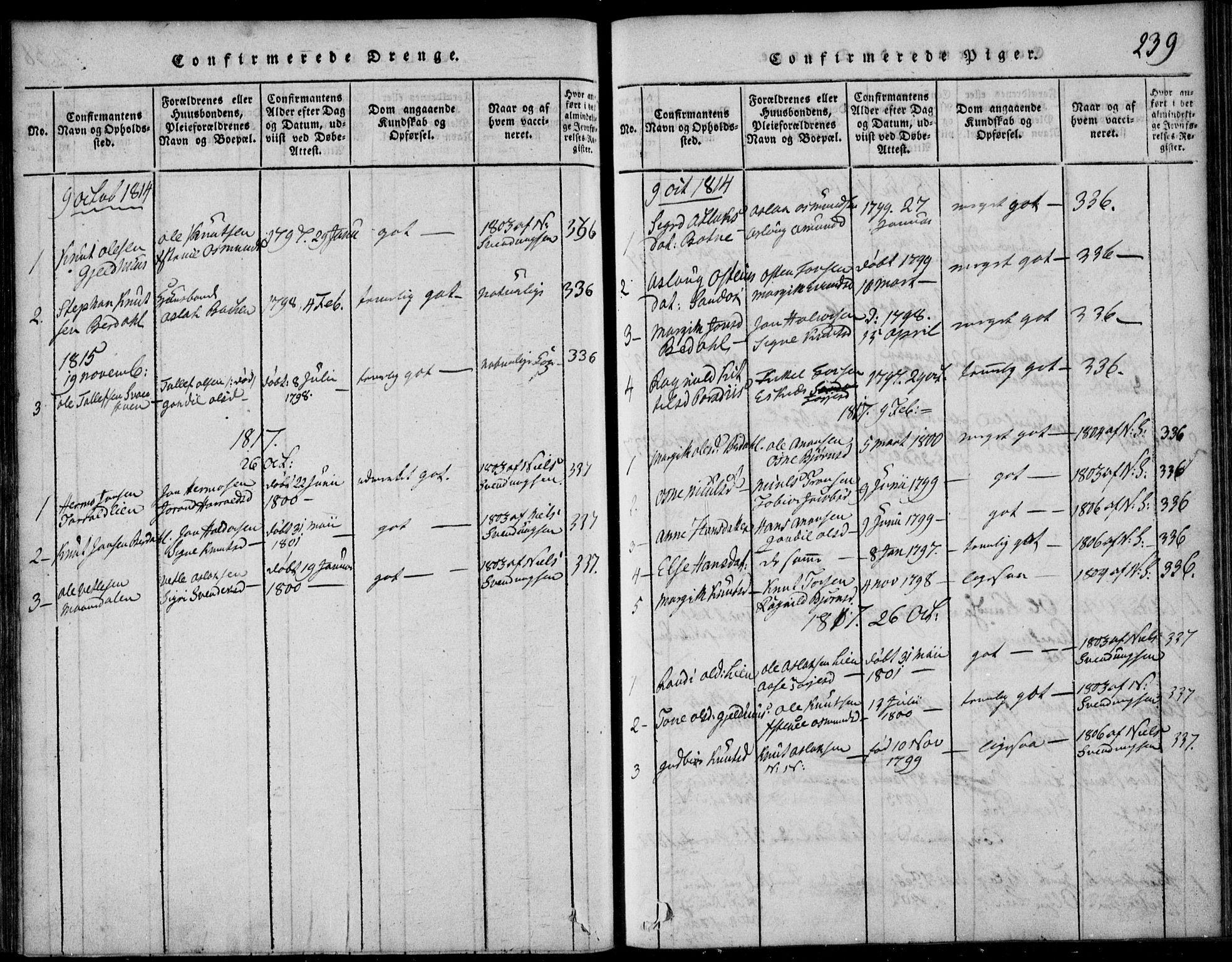 SAKO, Vinje kirkebøker, F/Fb/L0001: Ministerialbok nr. II 1, 1814-1843, s. 239