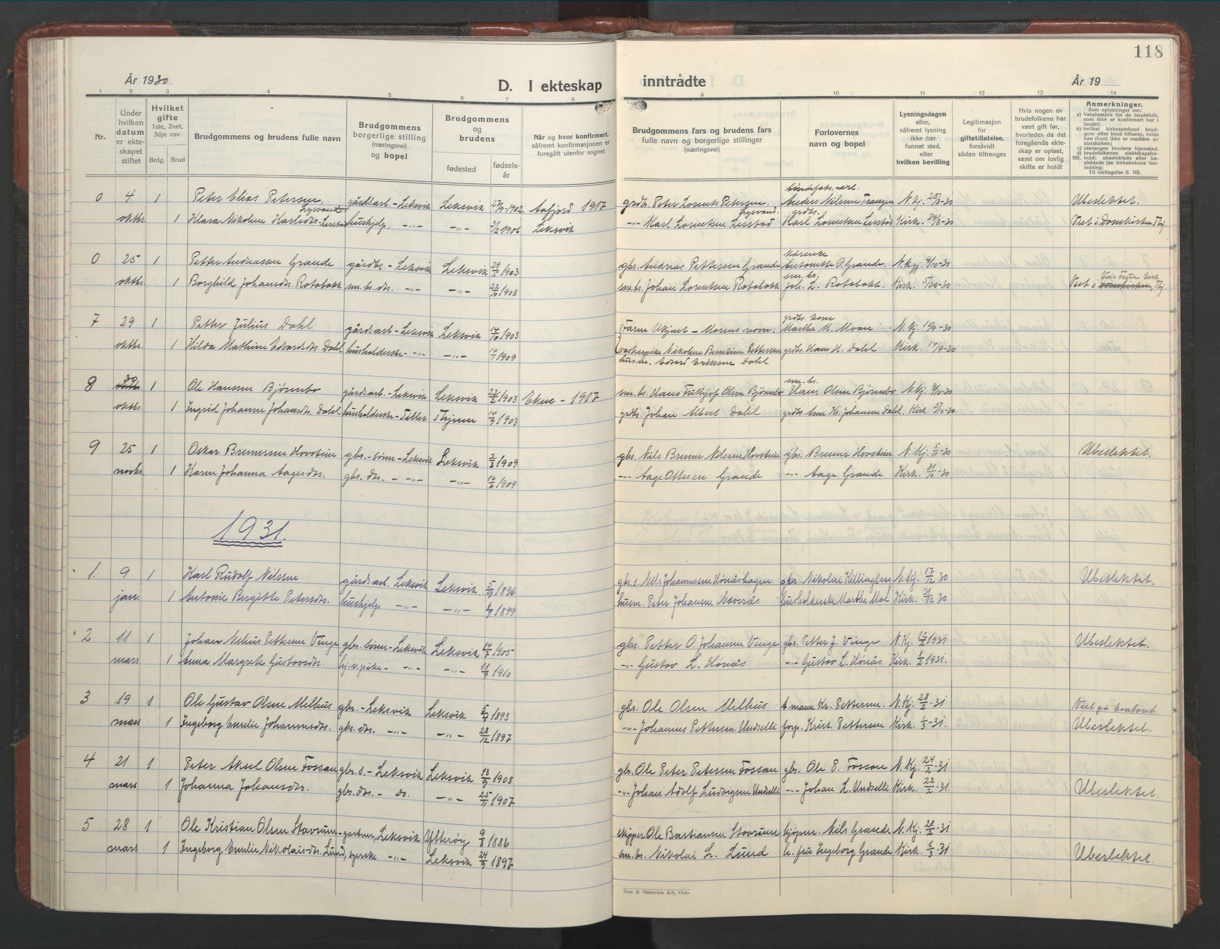 SAT, Ministerialprotokoller, klokkerbøker og fødselsregistre - Nord-Trøndelag, 701/L0019: Klokkerbok nr. 701C03, 1930-1953, s. 118