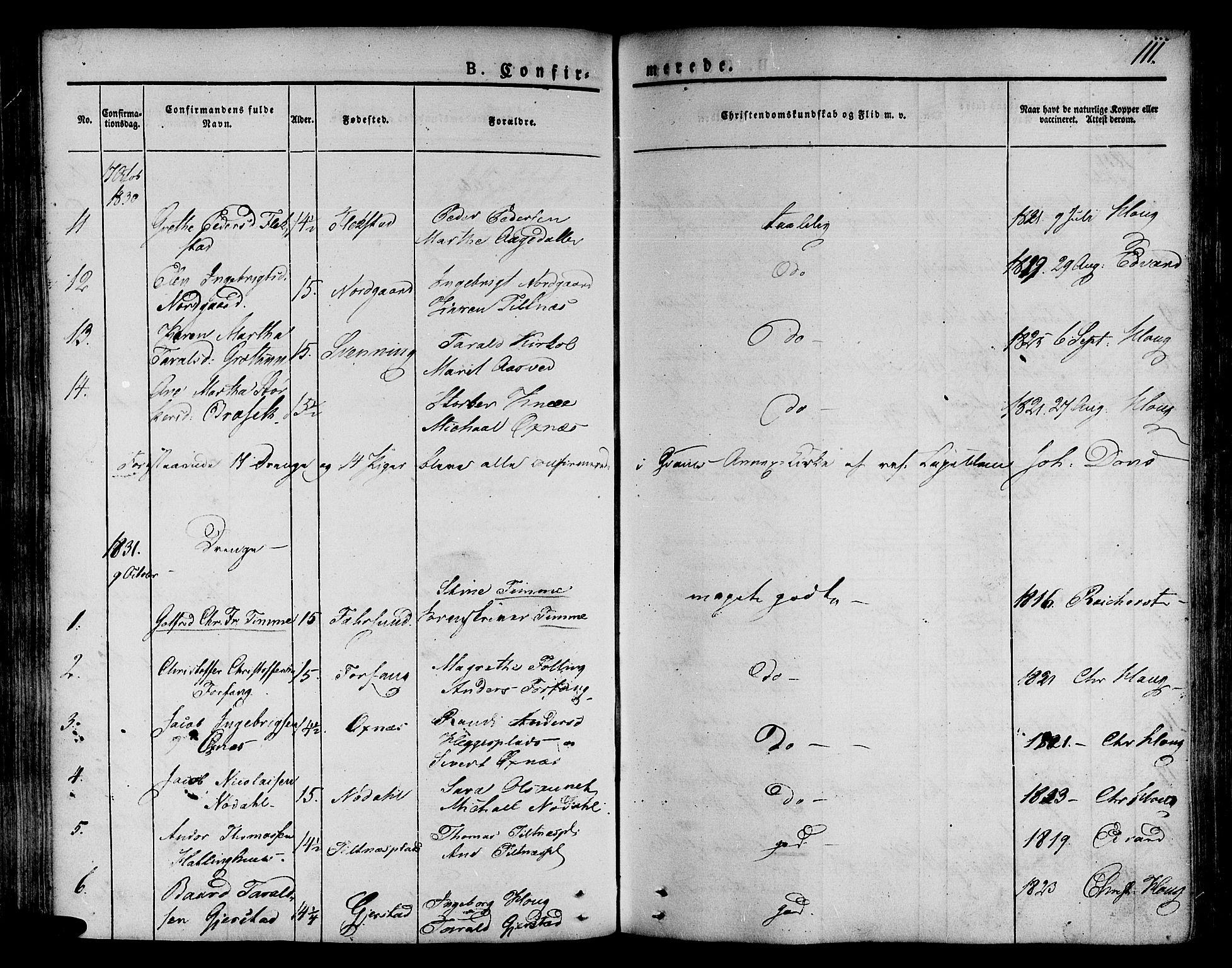 SAT, Ministerialprotokoller, klokkerbøker og fødselsregistre - Nord-Trøndelag, 746/L0445: Ministerialbok nr. 746A04, 1826-1846, s. 111