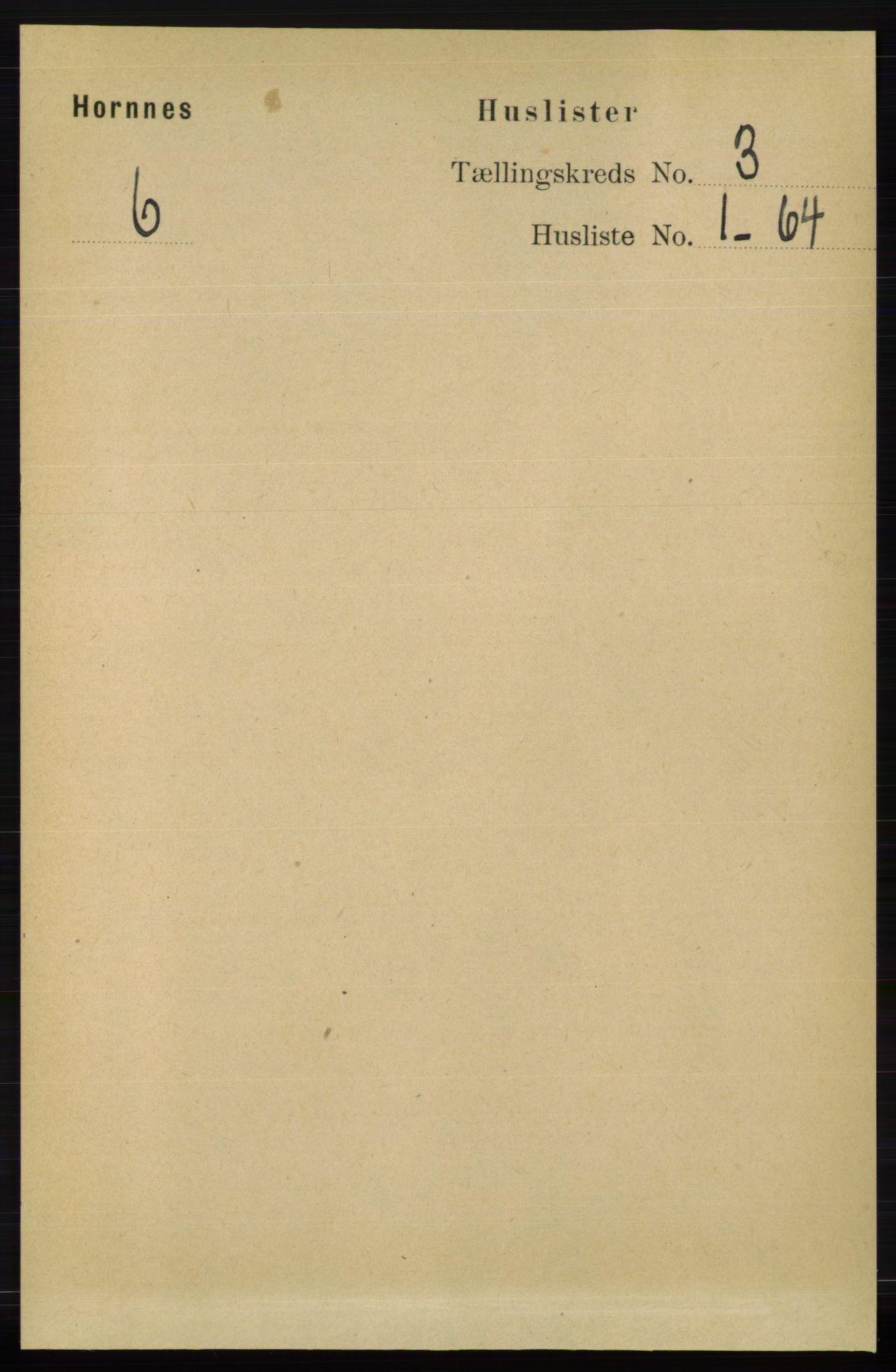 RA, Folketelling 1891 for 0936 Hornnes herred, 1891, s. 476