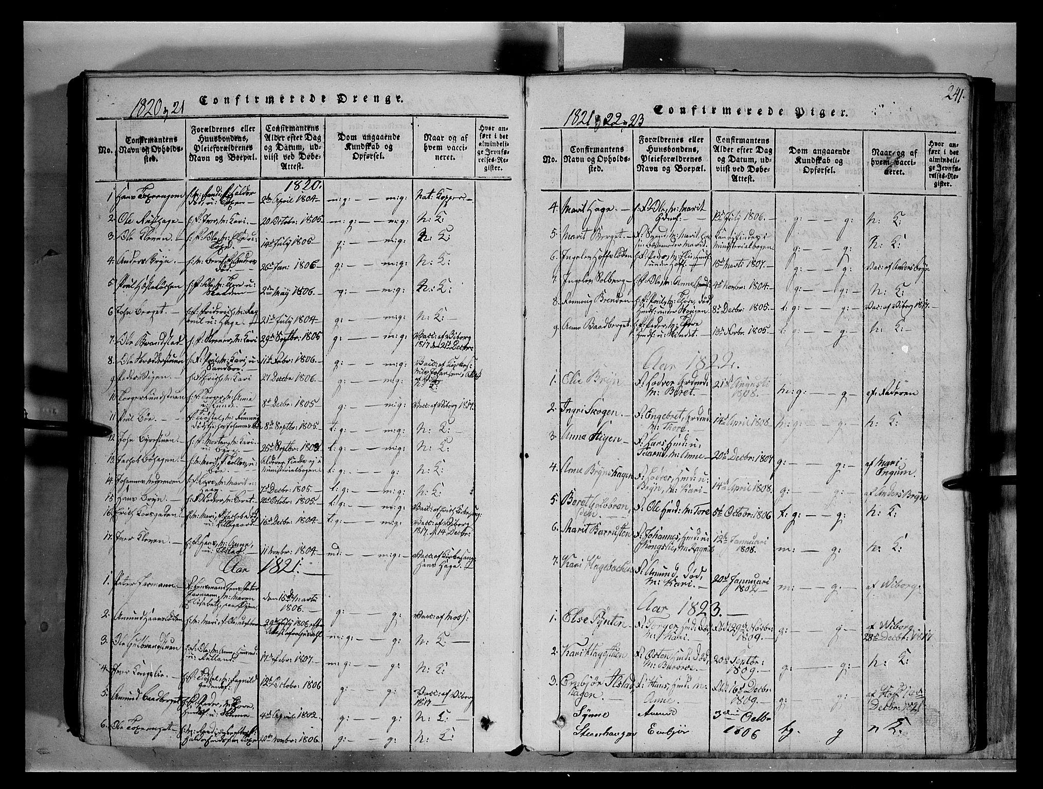 SAH, Fron prestekontor, H/Ha/Hab/L0004: Klokkerbok nr. 4, 1816-1850, s. 241
