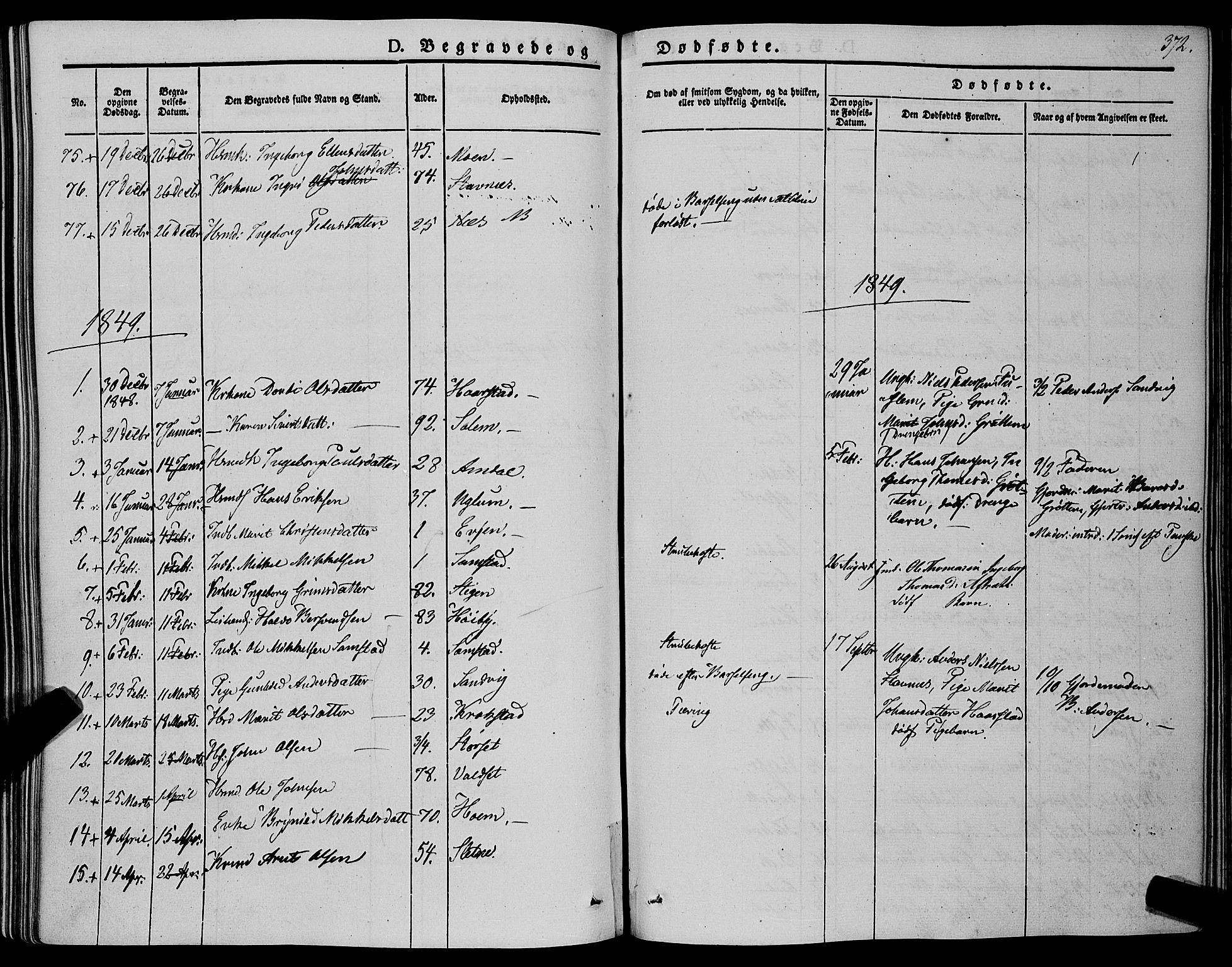 SAT, Ministerialprotokoller, klokkerbøker og fødselsregistre - Sør-Trøndelag, 695/L1145: Ministerialbok nr. 695A06 /1, 1843-1859, s. 372
