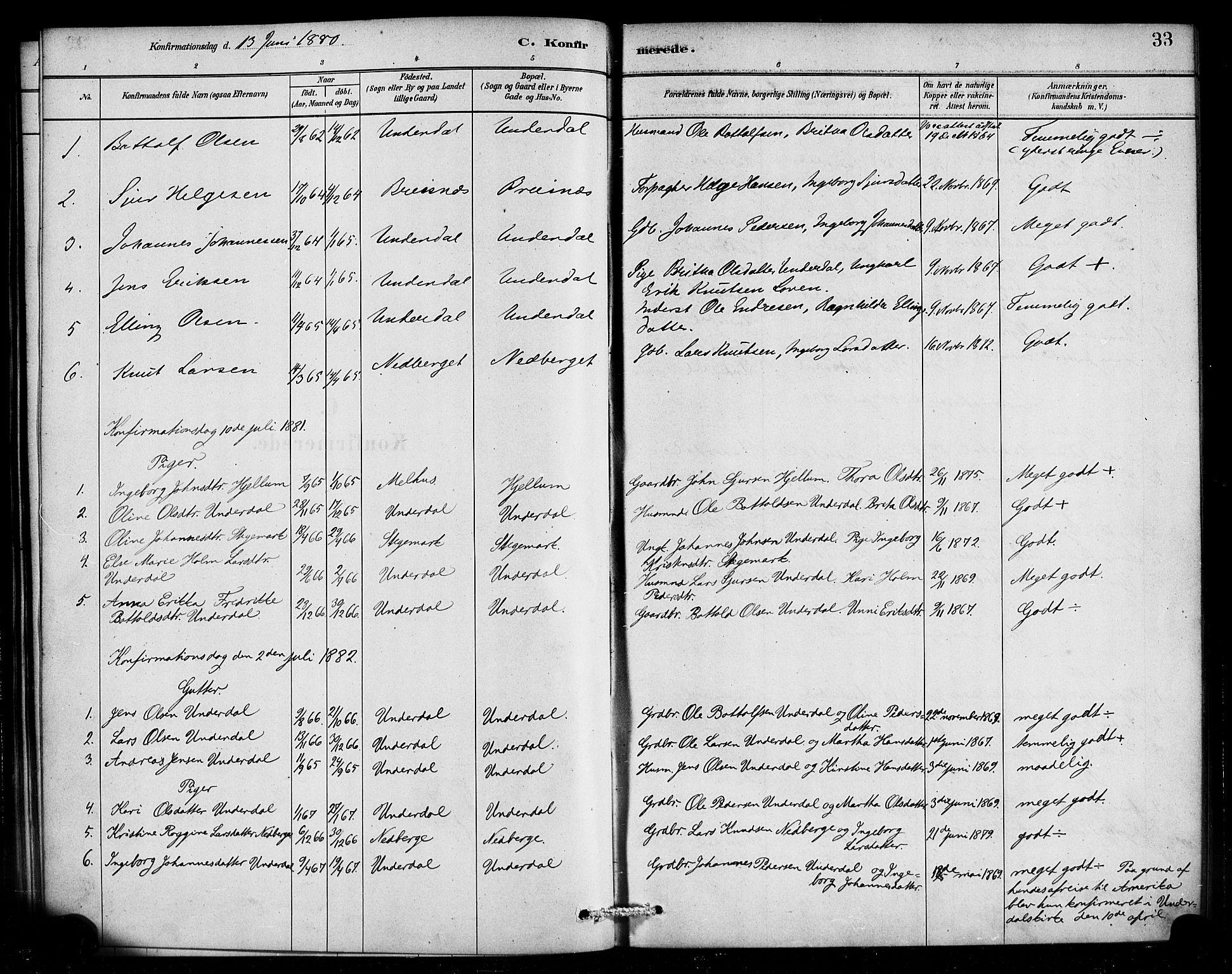 SAB, Aurland Sokneprestembete*, Ministerialbok nr. E 1, 1880-1907, s. 33