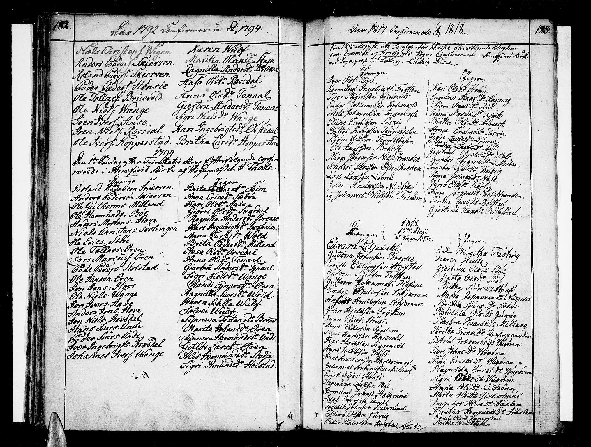 SAB, Vik Sokneprestembete, Ministerialbok nr. A 5, 1787-1820, s. 182-183