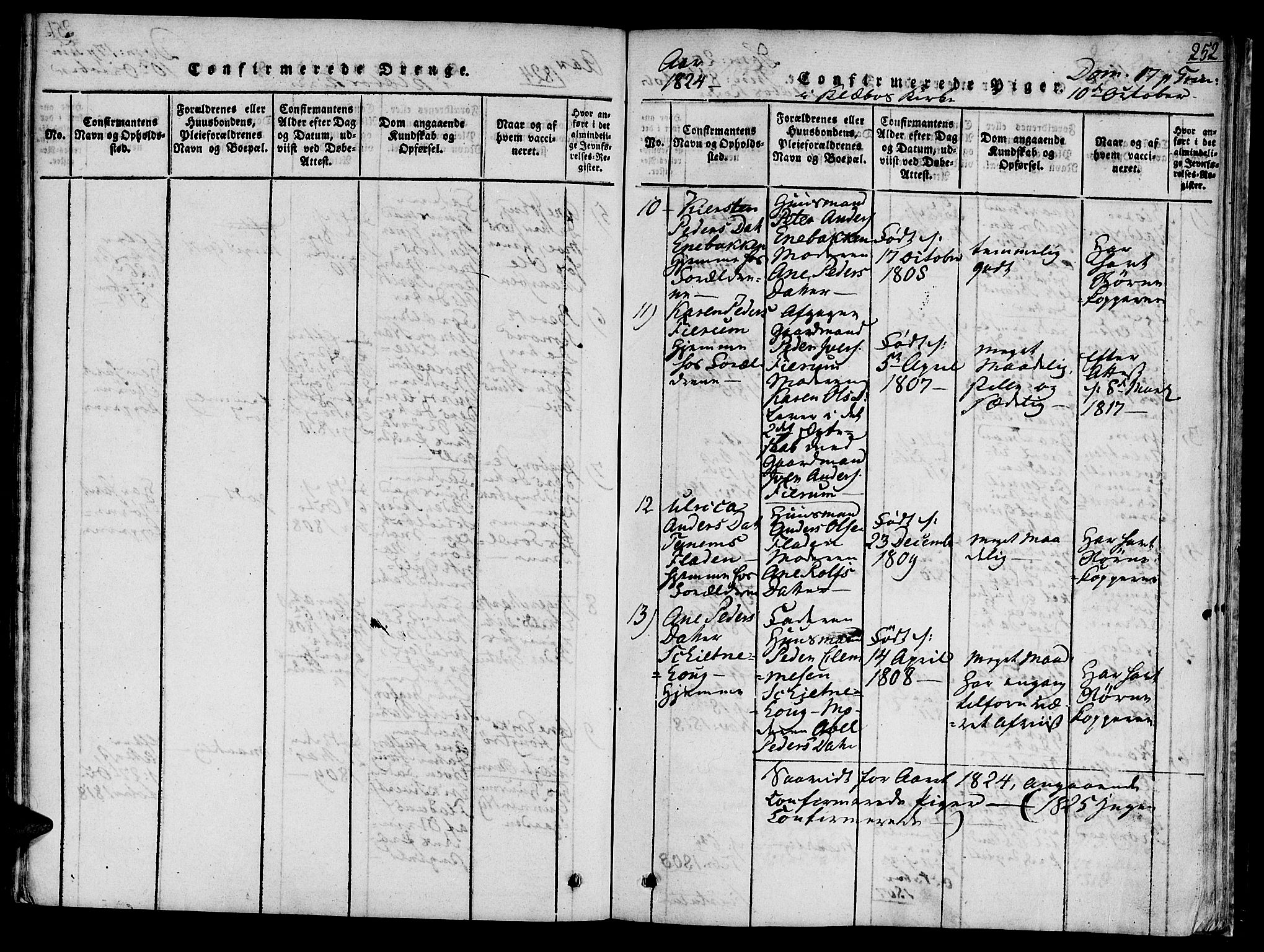 SAT, Ministerialprotokoller, klokkerbøker og fødselsregistre - Sør-Trøndelag, 618/L0439: Ministerialbok nr. 618A04 /1, 1816-1843, s. 252