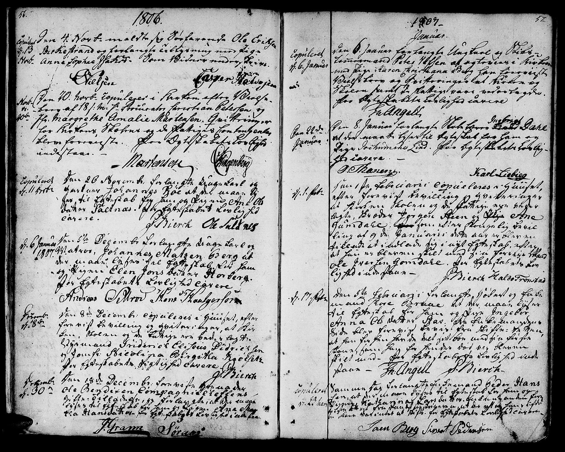 SAT, Ministerialprotokoller, klokkerbøker og fødselsregistre - Sør-Trøndelag, 601/L0042: Ministerialbok nr. 601A10, 1802-1830, s. 56-57