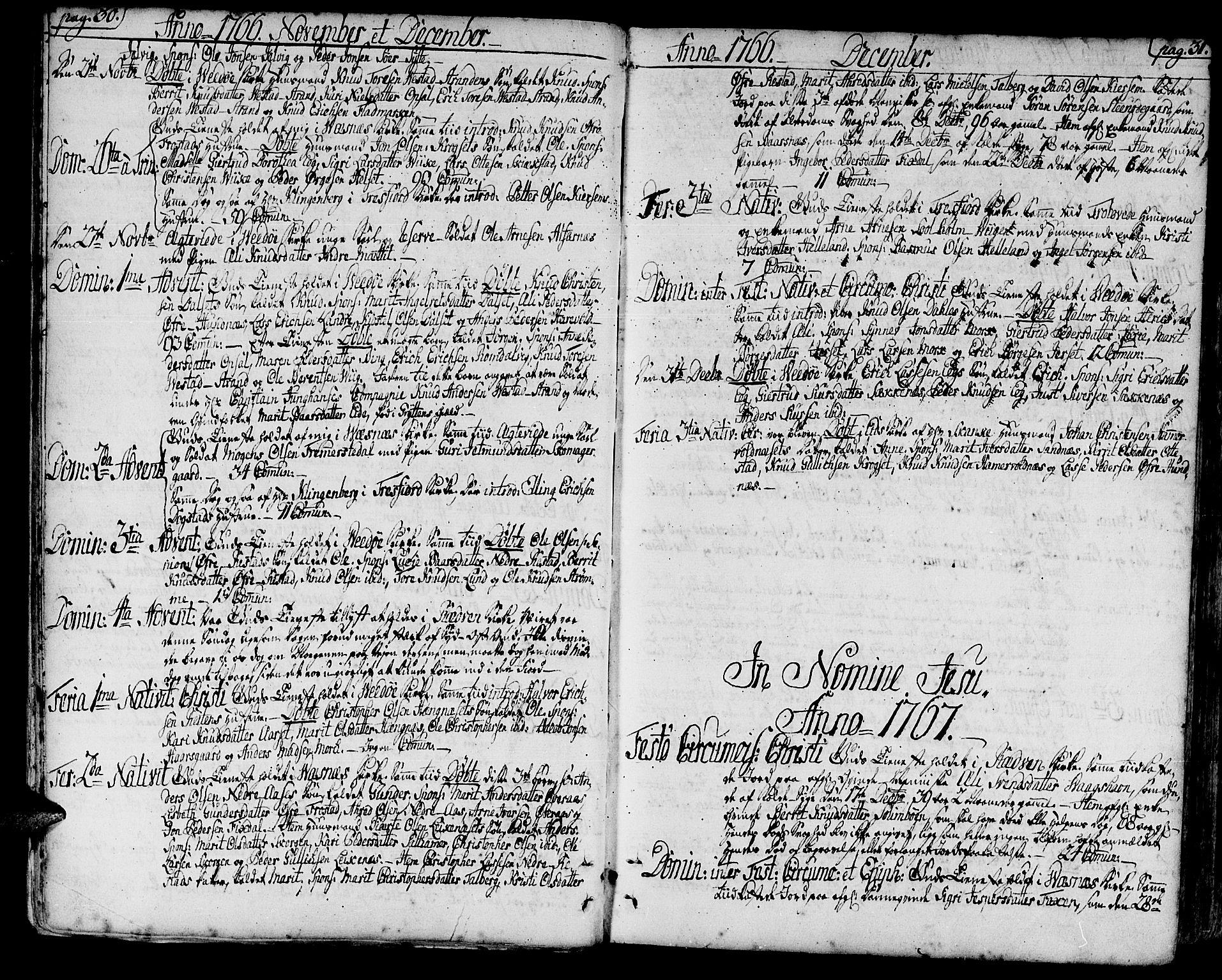 SAT, Ministerialprotokoller, klokkerbøker og fødselsregistre - Møre og Romsdal, 547/L0600: Ministerialbok nr. 547A02, 1765-1799, s. 30-31