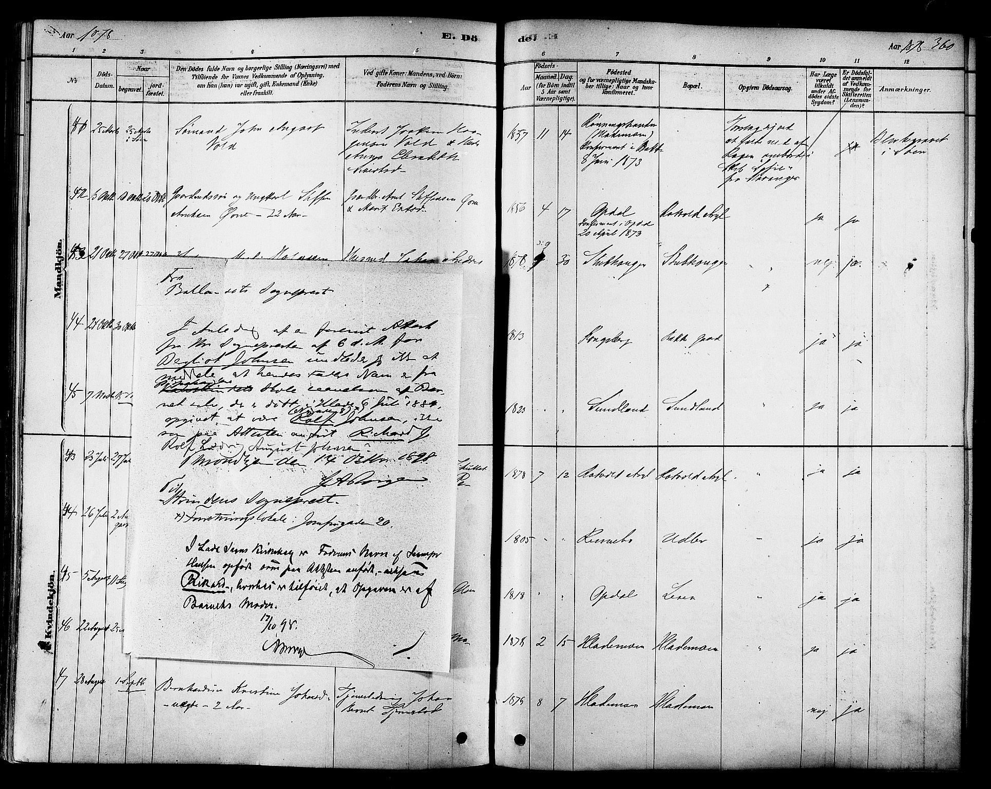 SAT, Ministerialprotokoller, klokkerbøker og fødselsregistre - Sør-Trøndelag, 606/L0294: Ministerialbok nr. 606A09, 1878-1886, s. 360