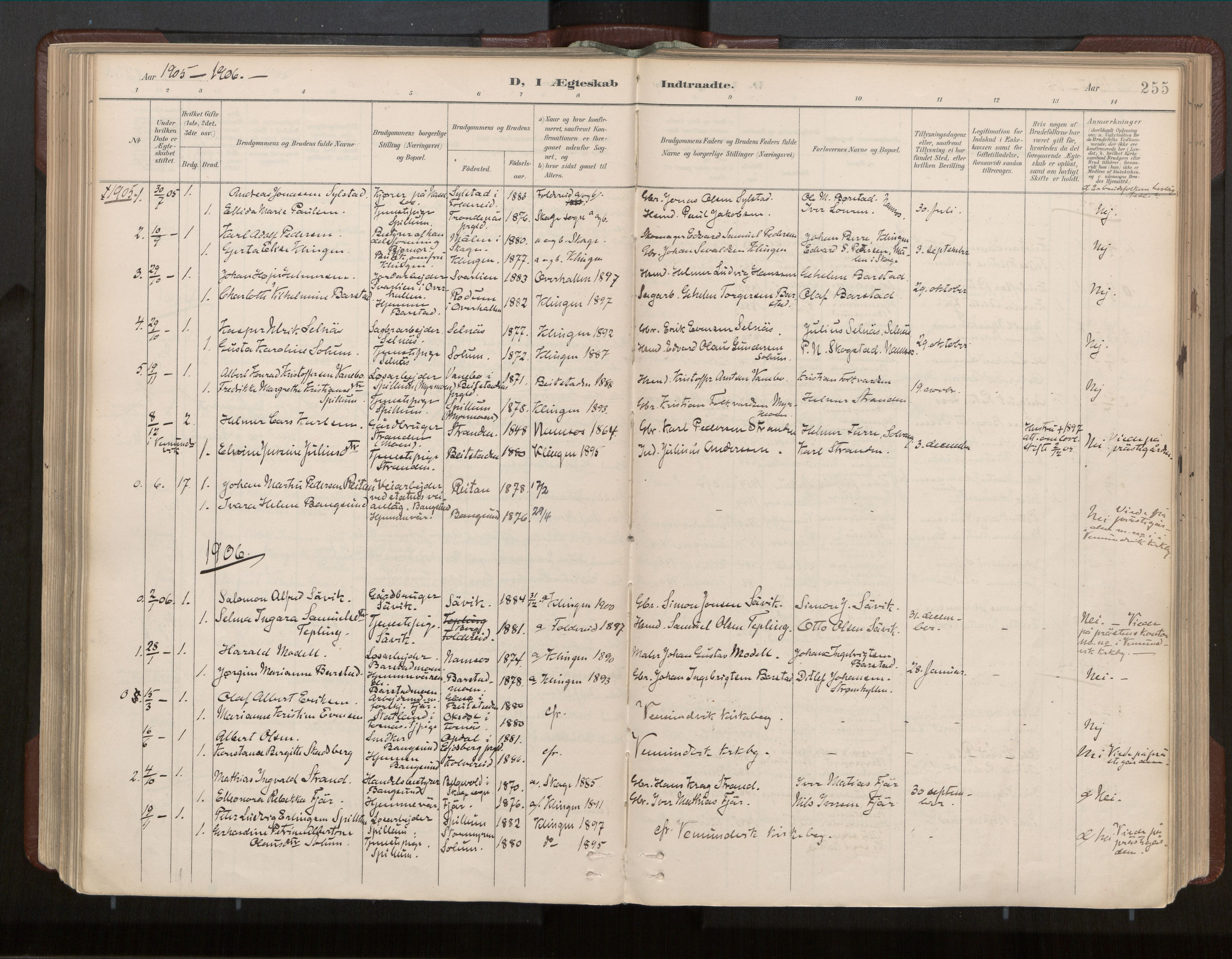 SAT, Ministerialprotokoller, klokkerbøker og fødselsregistre - Nord-Trøndelag, 770/L0589: Ministerialbok nr. 770A03, 1887-1929, s. 255