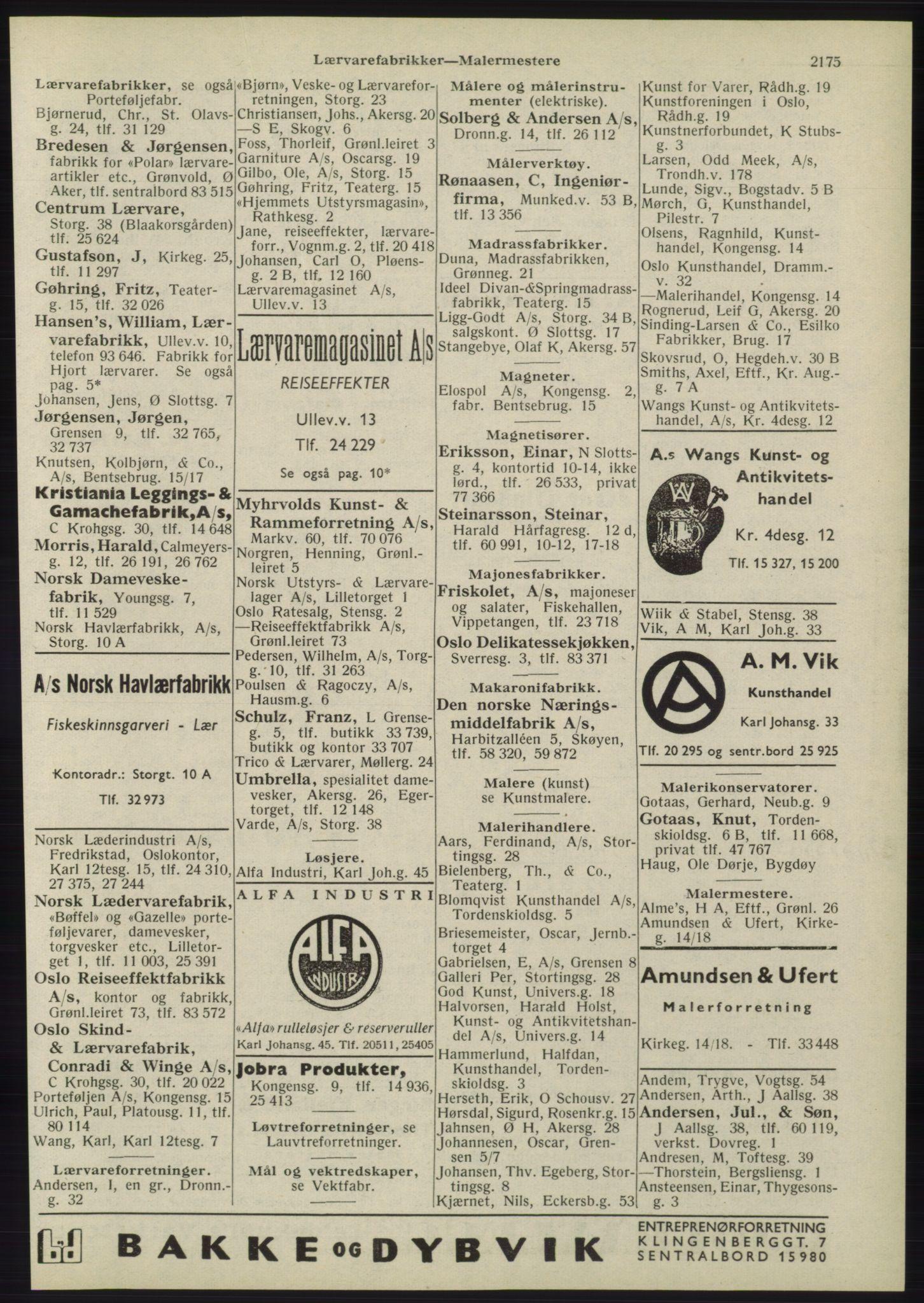 RA, Oslo adressebok (publikasjon)*, 1945, s. 2175