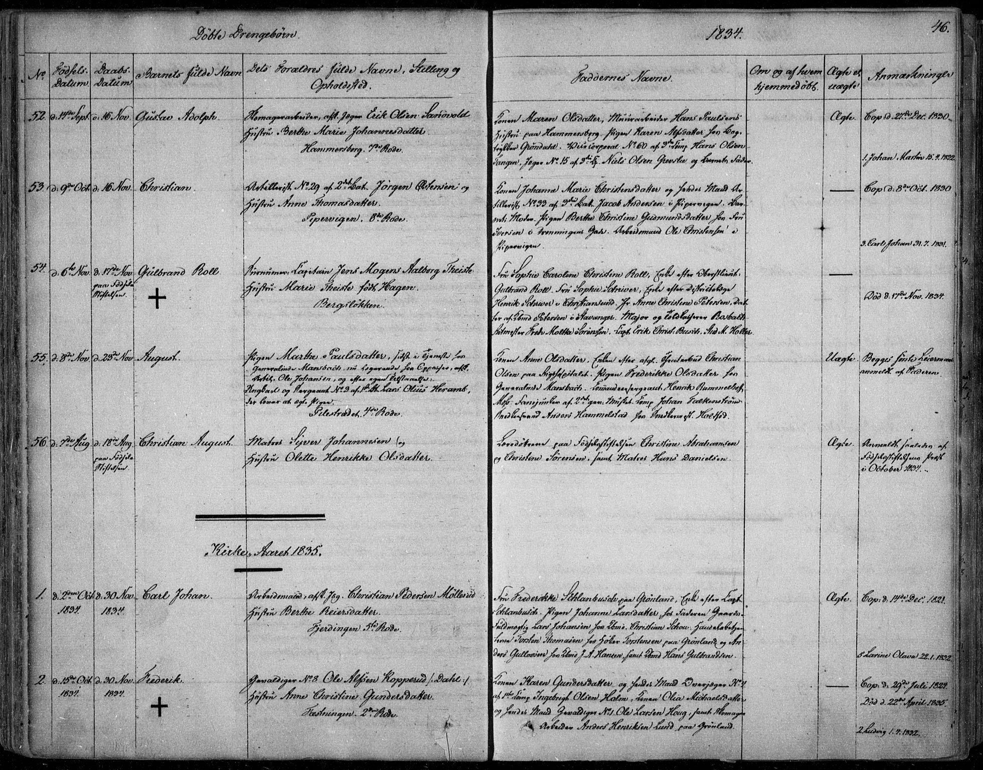 SAO, Garnisonsmenigheten Kirkebøker, F/Fa/L0006: Ministerialbok nr. 6, 1828-1841, s. 46