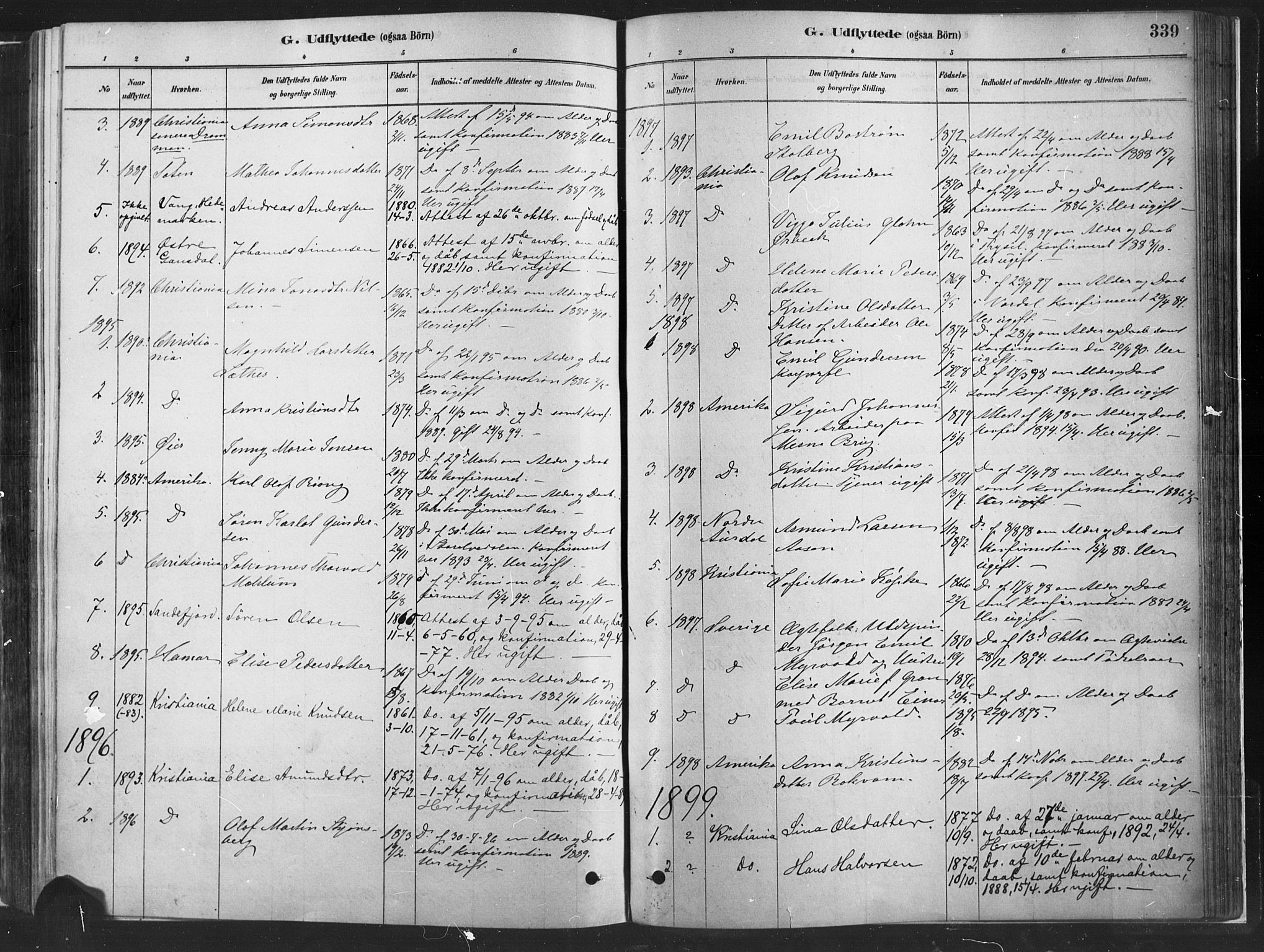 SAH, Fåberg prestekontor, H/Ha/Haa/L0010: Ministerialbok nr. 10, 1879-1900, s. 339