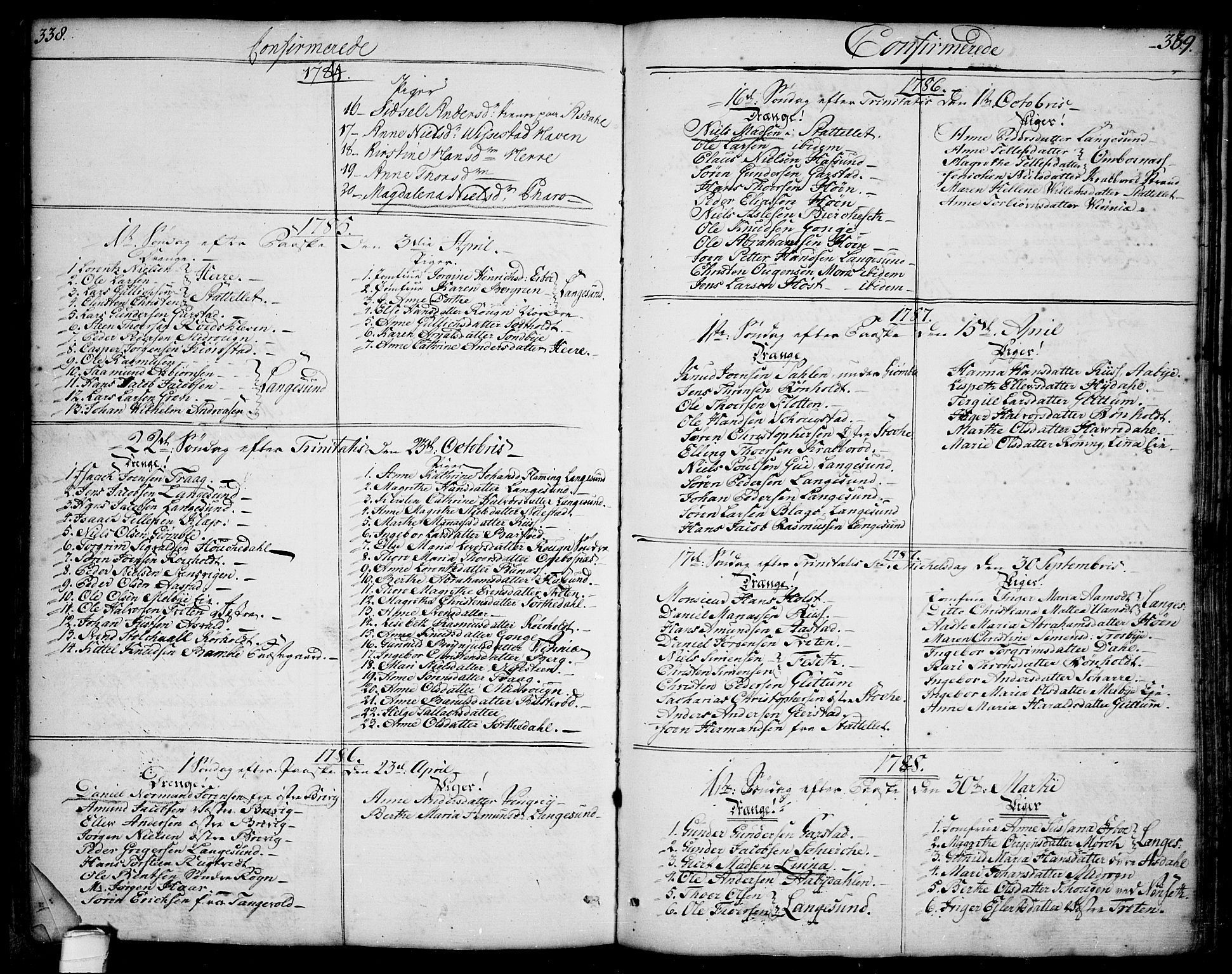 SAKO, Bamble kirkebøker, F/Fa/L0002: Ministerialbok nr. I 2, 1775-1814, s. 338-339