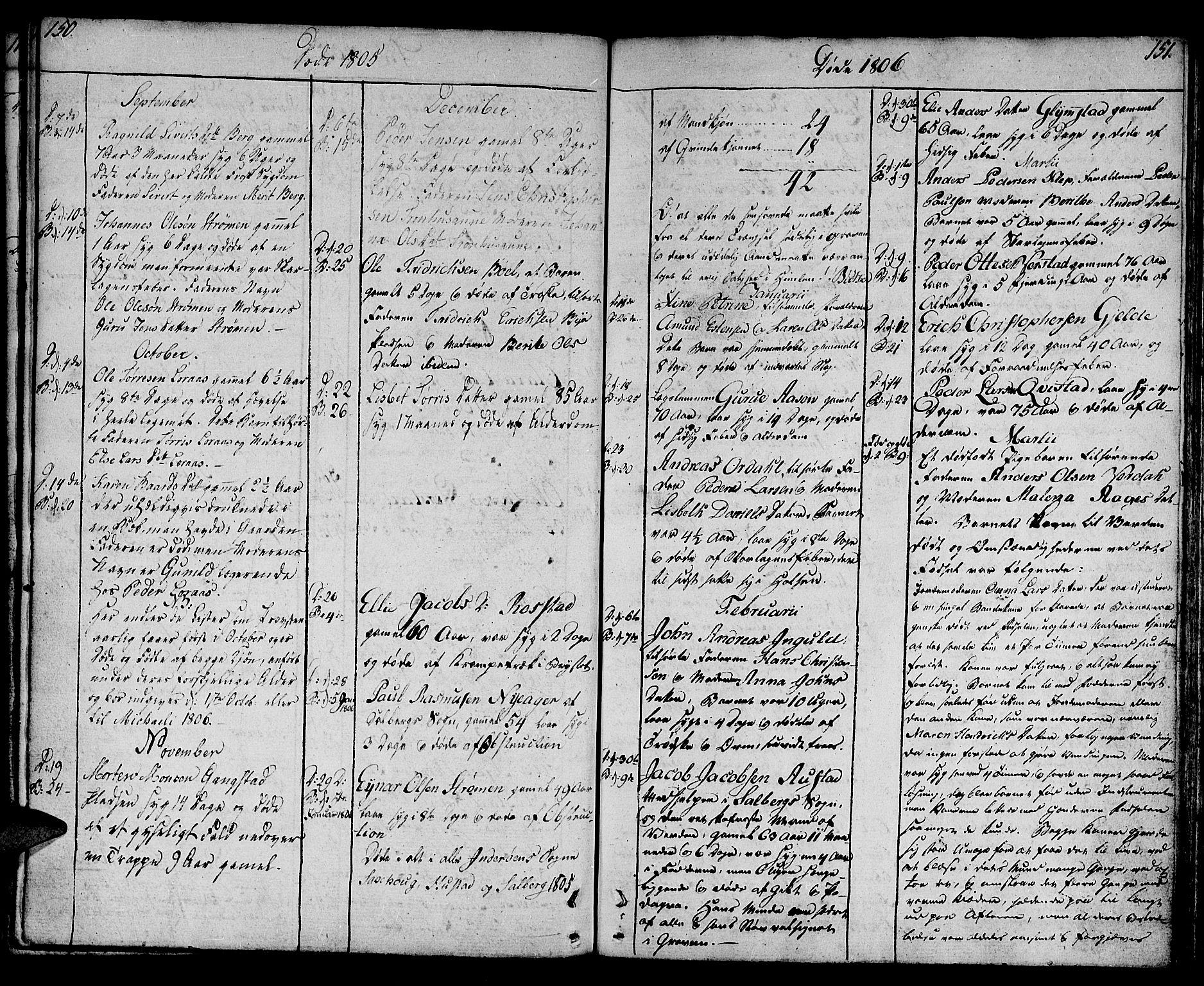 SAT, Ministerialprotokoller, klokkerbøker og fødselsregistre - Nord-Trøndelag, 730/L0274: Ministerialbok nr. 730A03, 1802-1816, s. 150-151