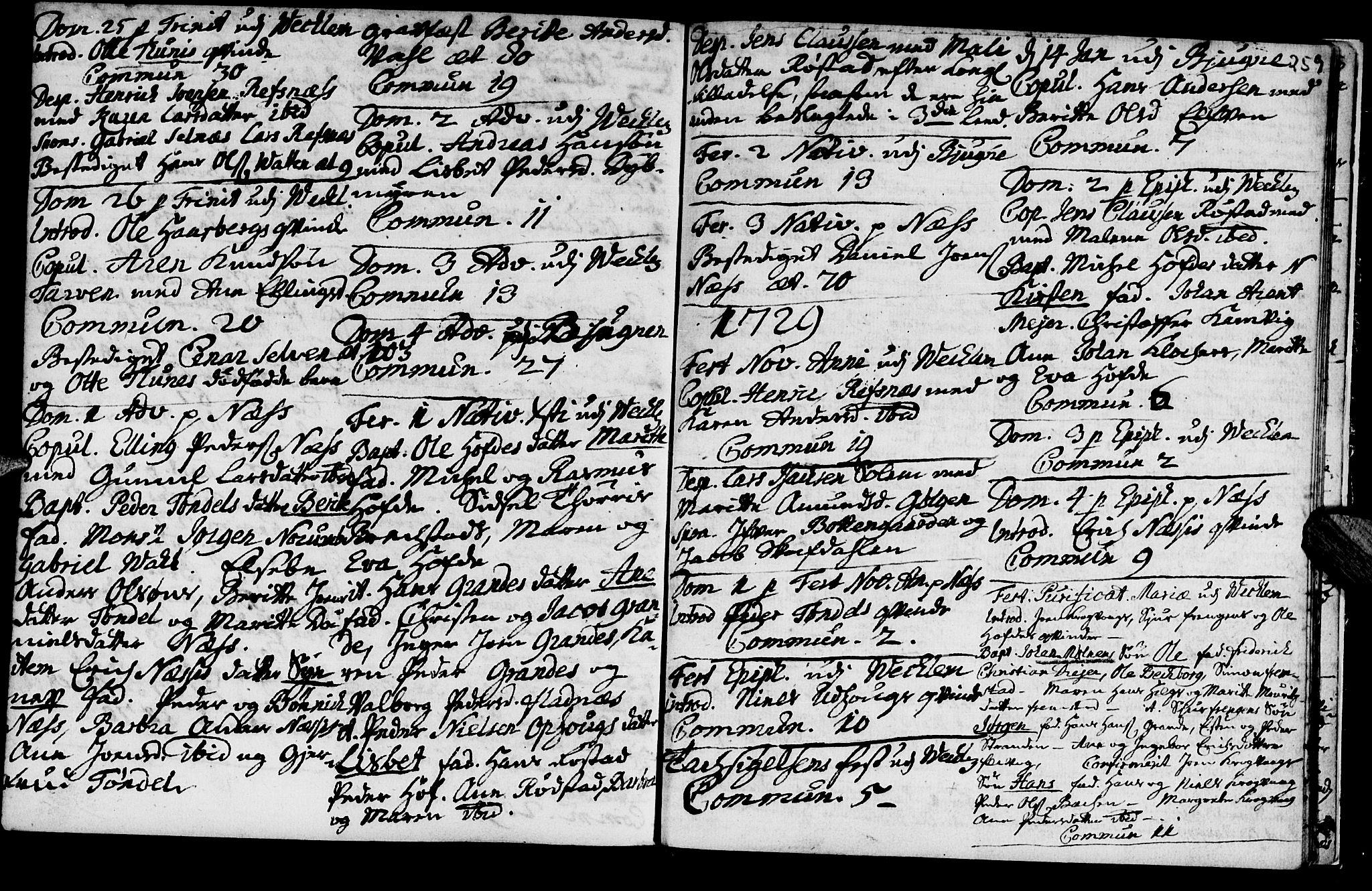 SAT, Ministerialprotokoller, klokkerbøker og fødselsregistre - Sør-Trøndelag, 659/L0731: Ministerialbok nr. 659A01, 1709-1731, s. 258-259