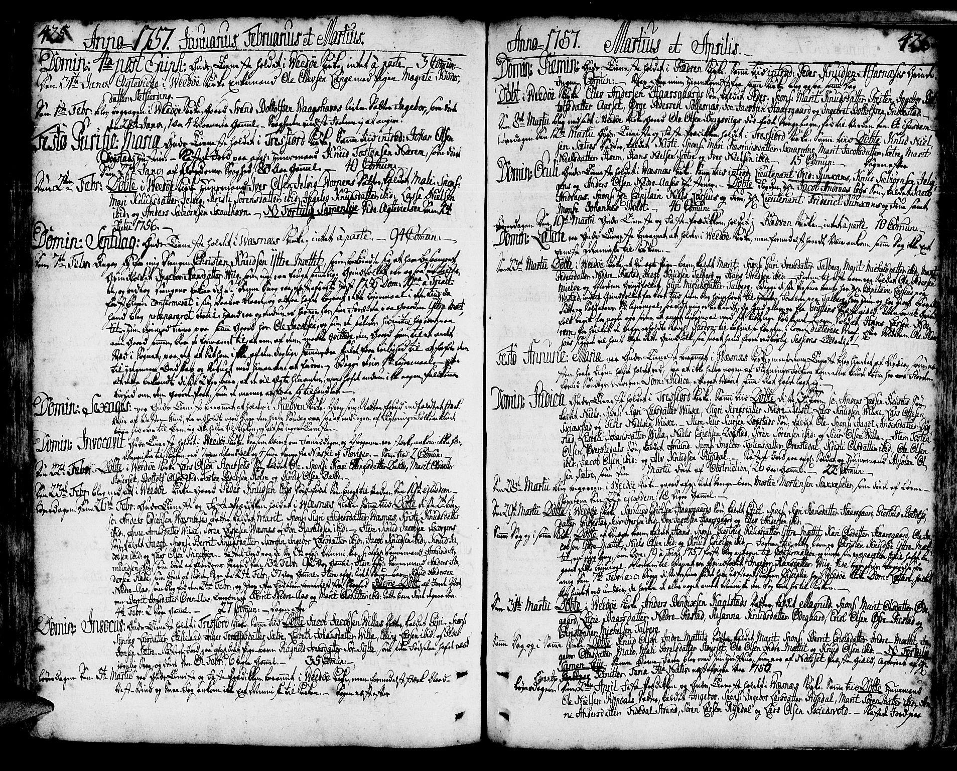 SAT, Ministerialprotokoller, klokkerbøker og fødselsregistre - Møre og Romsdal, 547/L0599: Ministerialbok nr. 547A01, 1721-1764, s. 425-426
