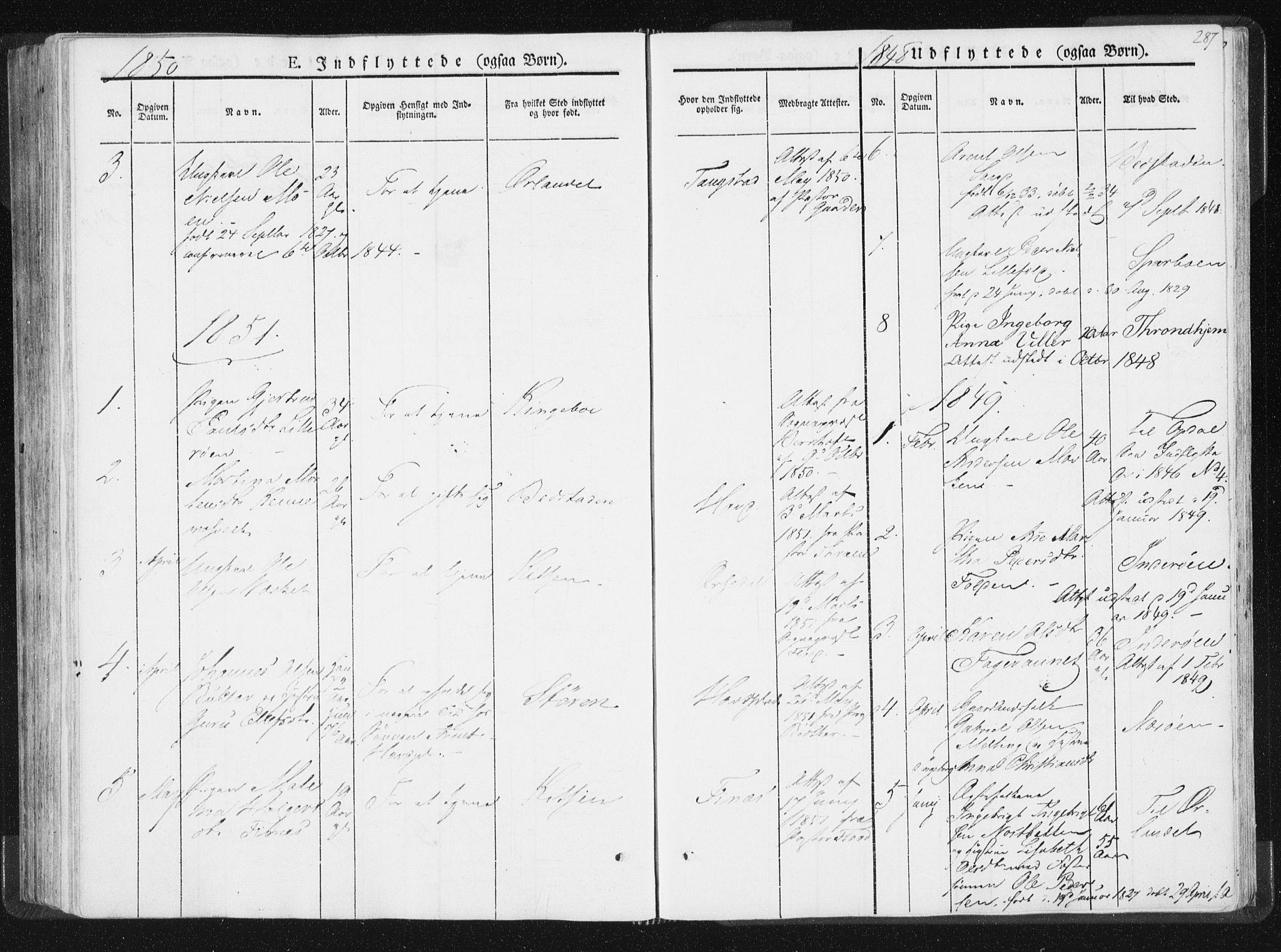SAT, Ministerialprotokoller, klokkerbøker og fødselsregistre - Nord-Trøndelag, 744/L0418: Ministerialbok nr. 744A02, 1843-1866, s. 287
