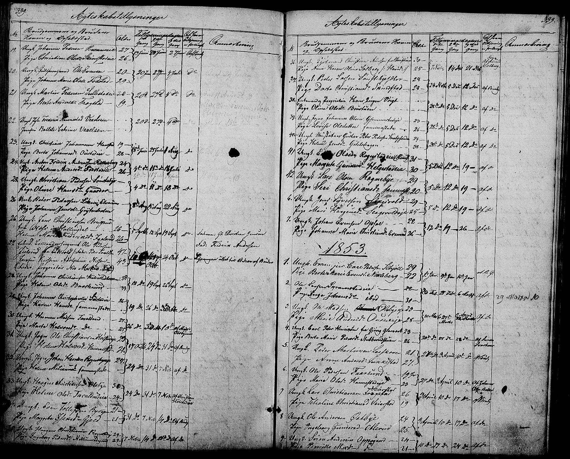 SAH, Østre Toten prestekontor, Klokkerbok nr. 3, 1848-1857, s. 339