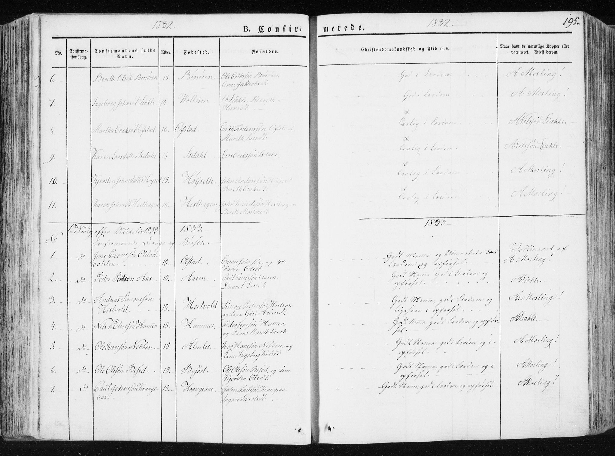 SAT, Ministerialprotokoller, klokkerbøker og fødselsregistre - Sør-Trøndelag, 665/L0771: Ministerialbok nr. 665A06, 1830-1856, s. 195