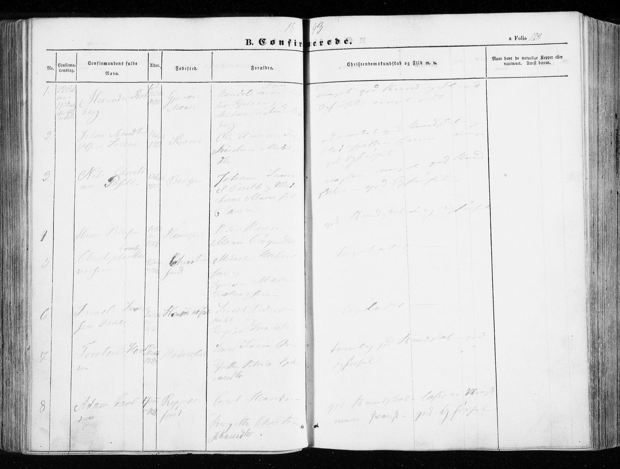 SATØ, Hammerfest sokneprestembete, Ministerialbok nr. 4, 1843-1856, s. 128