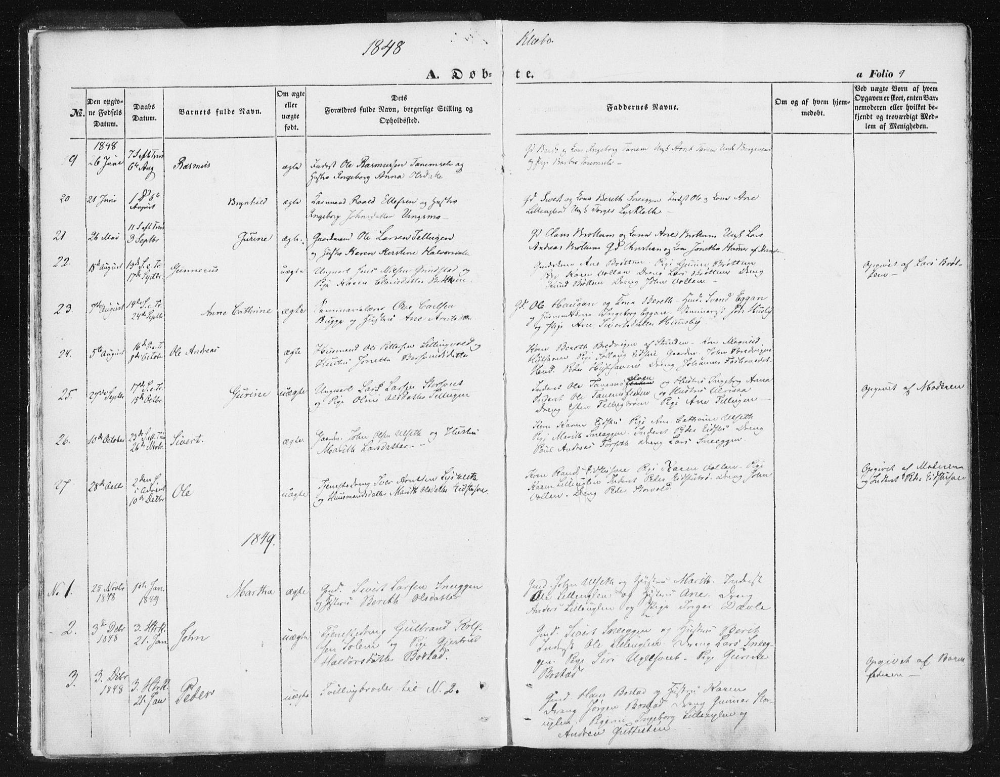 SAT, Ministerialprotokoller, klokkerbøker og fødselsregistre - Sør-Trøndelag, 618/L0441: Ministerialbok nr. 618A05, 1843-1862, s. 9