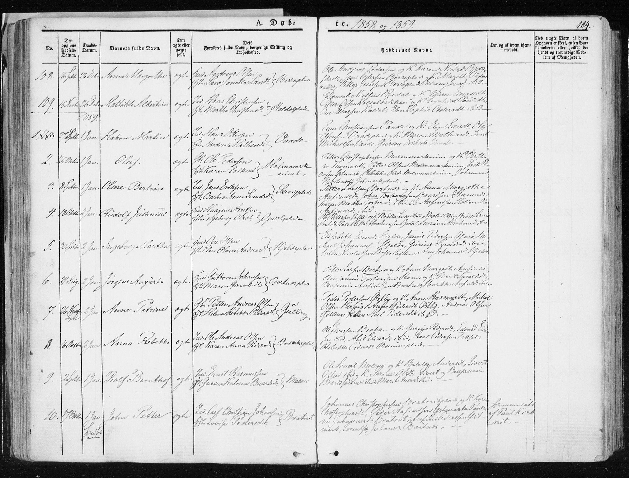 SAT, Ministerialprotokoller, klokkerbøker og fødselsregistre - Nord-Trøndelag, 741/L0393: Ministerialbok nr. 741A07, 1849-1863, s. 104