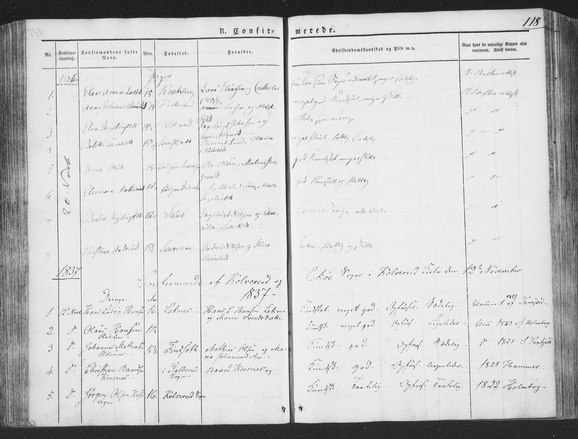 SAT, Ministerialprotokoller, klokkerbøker og fødselsregistre - Nord-Trøndelag, 780/L0639: Ministerialbok nr. 780A04, 1830-1844, s. 118