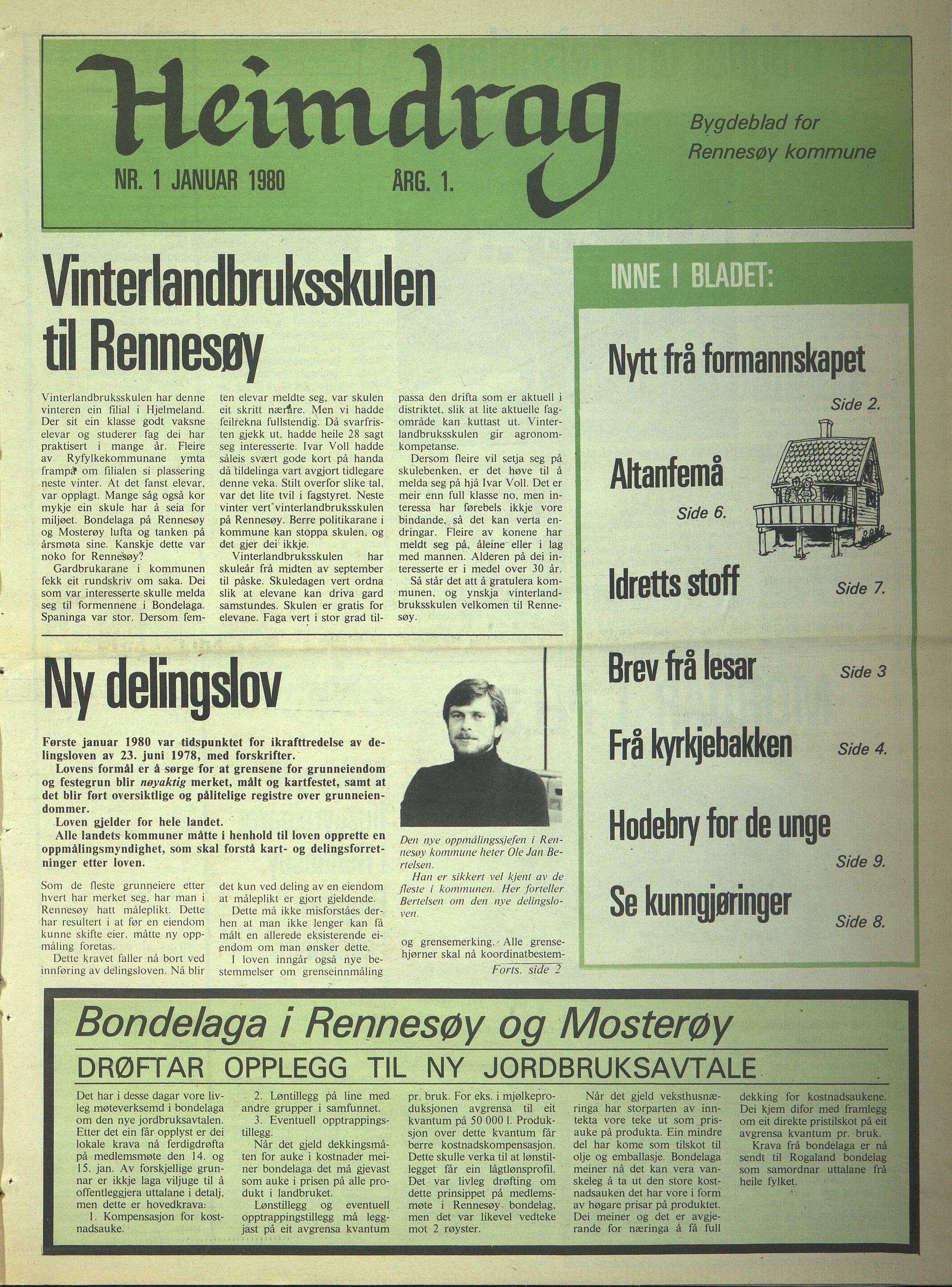 BYST, Rennesøy kommune. Heimdrag, lokalavis, X/Xa/L0002: Heimdrag 1980, 1980
