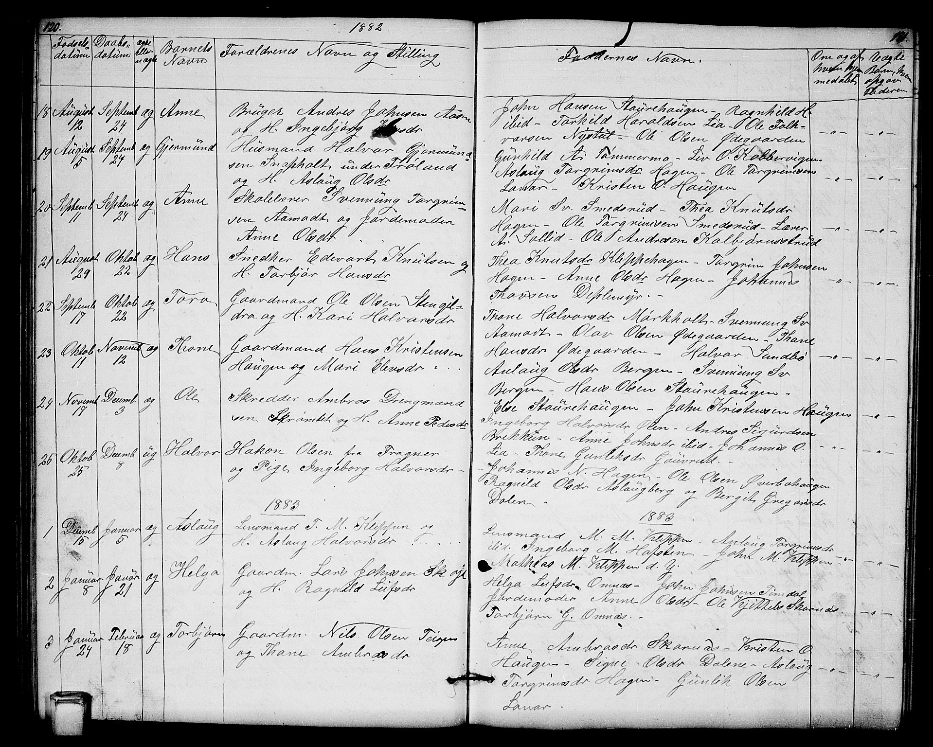 SAKO, Hjartdal kirkebøker, G/Gb/L0002: Klokkerbok nr. II 2, 1854-1884, s. 120-121
