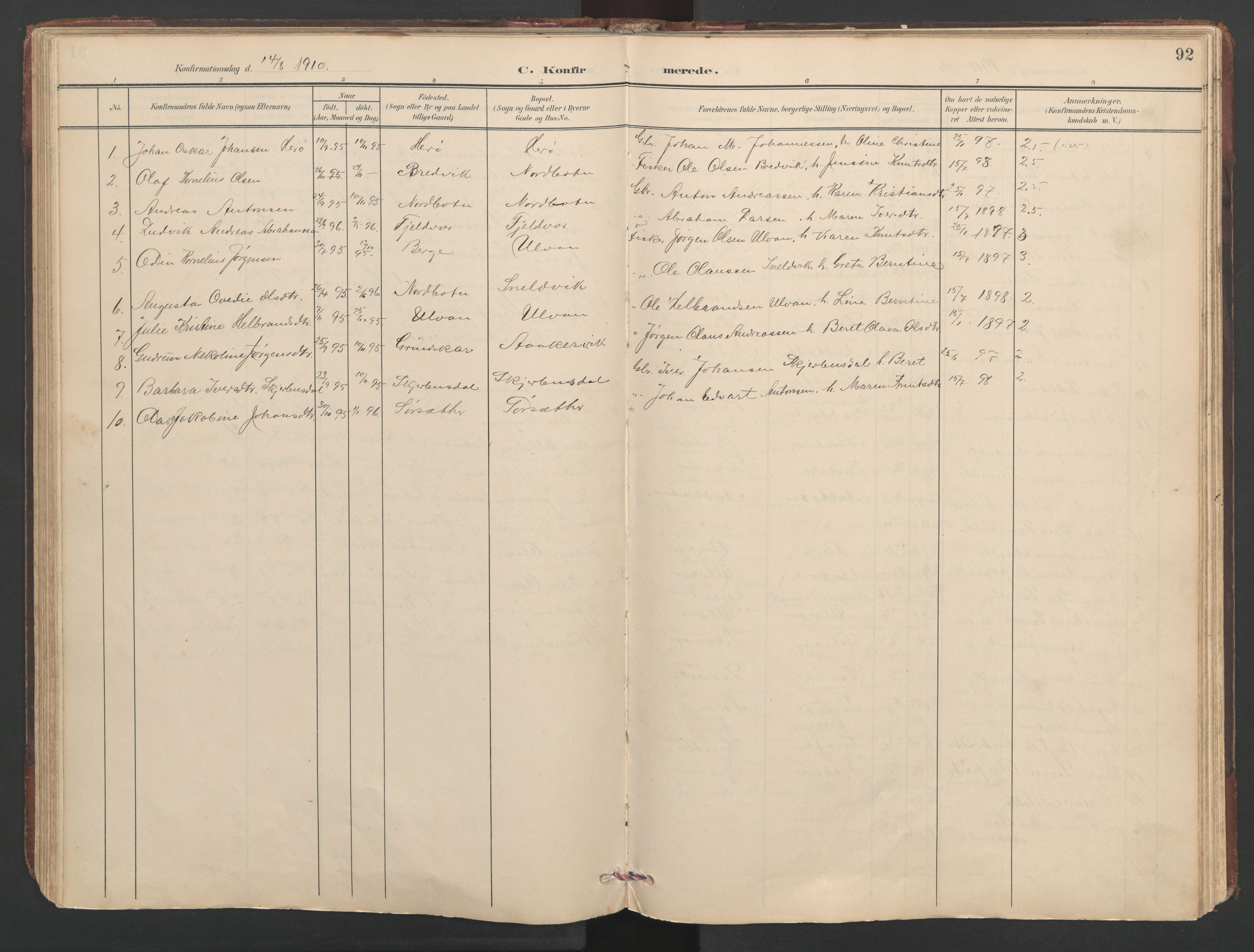 SAT, Ministerialprotokoller, klokkerbøker og fødselsregistre - Sør-Trøndelag, 638/L0571: Klokkerbok nr. 638C03, 1901-1930, s. 92