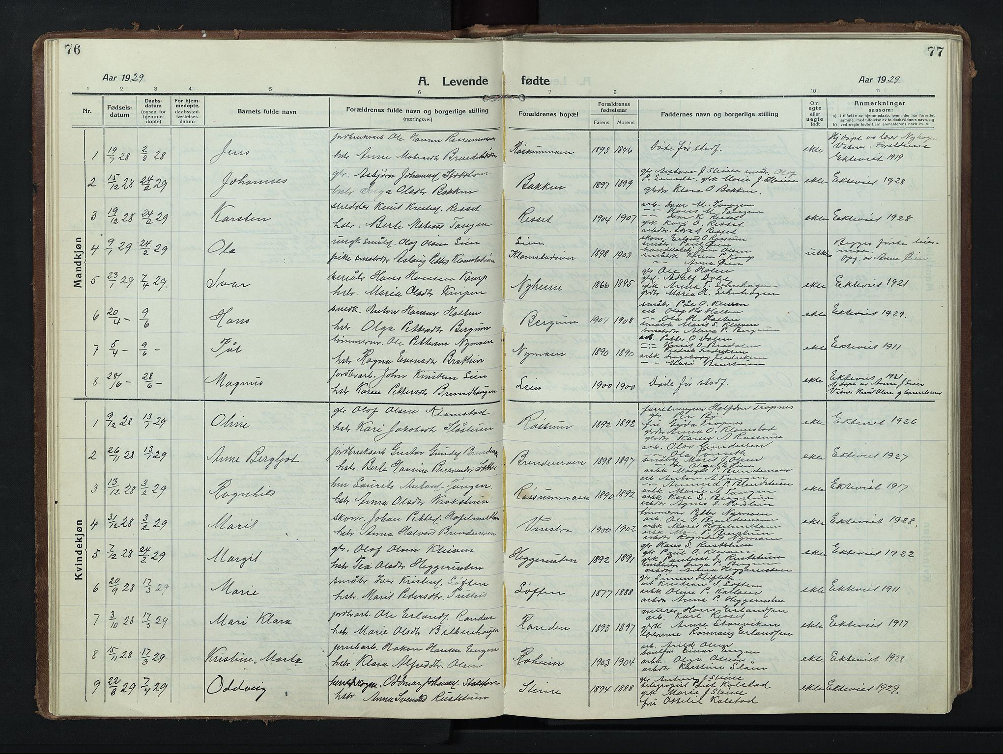 SAH, Nord-Fron prestekontor, Klokkerbok nr. 8, 1915-1948, s. 76-77