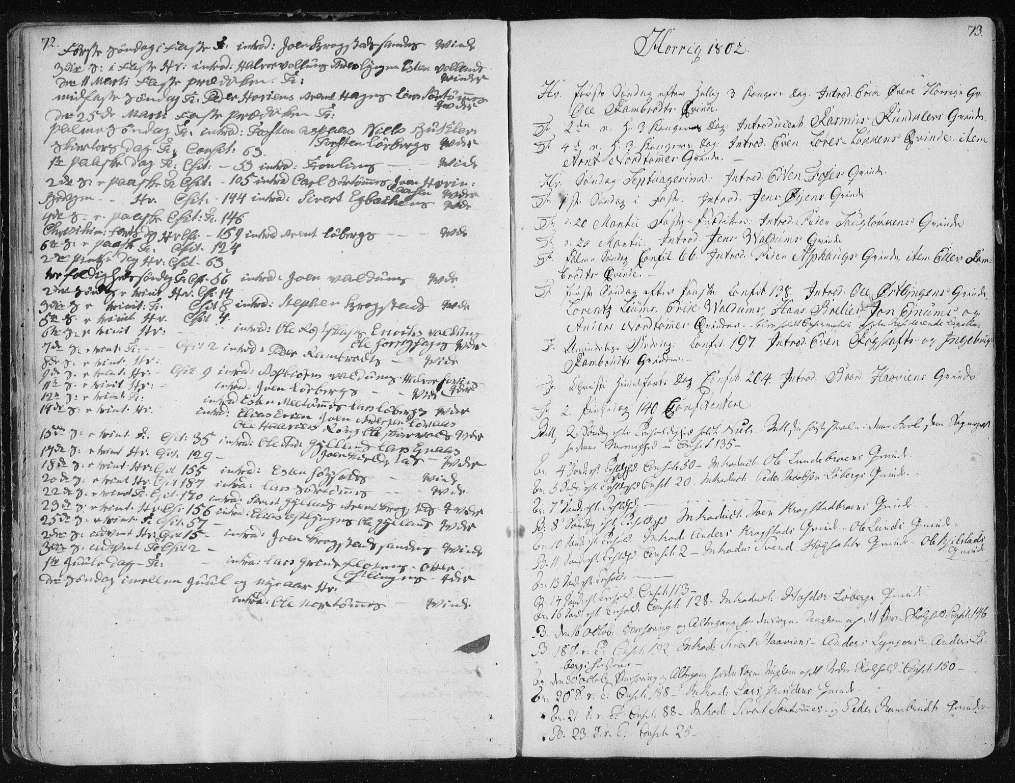 SAT, Ministerialprotokoller, klokkerbøker og fødselsregistre - Sør-Trøndelag, 687/L0993: Ministerialbok nr. 687A03 /2, 1788-1815, s. 72-73