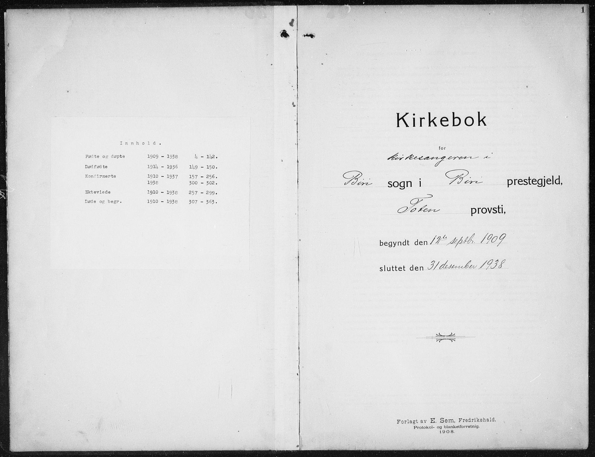 SAH, Biri prestekontor, Klokkerbok nr. 6, 1909-1938, s. 1