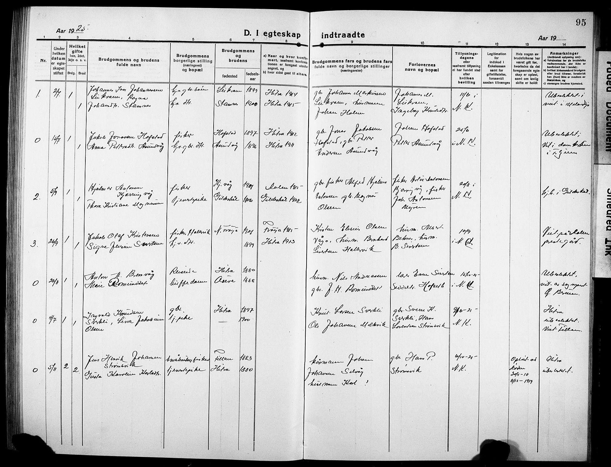 SAT, Ministerialprotokoller, klokkerbøker og fødselsregistre - Sør-Trøndelag, 634/L0543: Klokkerbok nr. 634C05, 1917-1928, s. 95