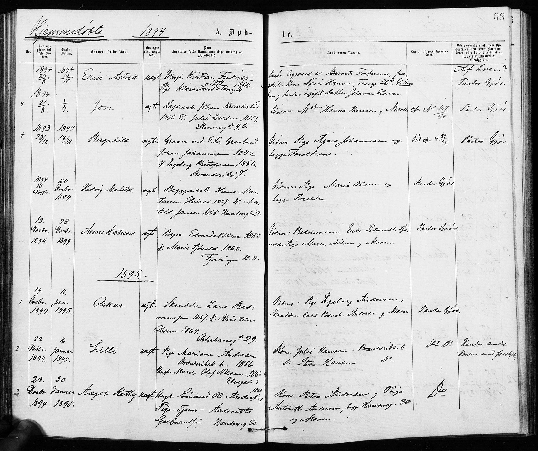SAO, Jakob prestekontor Kirkebøker, F/Fa/L0001: Ministerialbok nr. 1, 1875-1924, s. 88