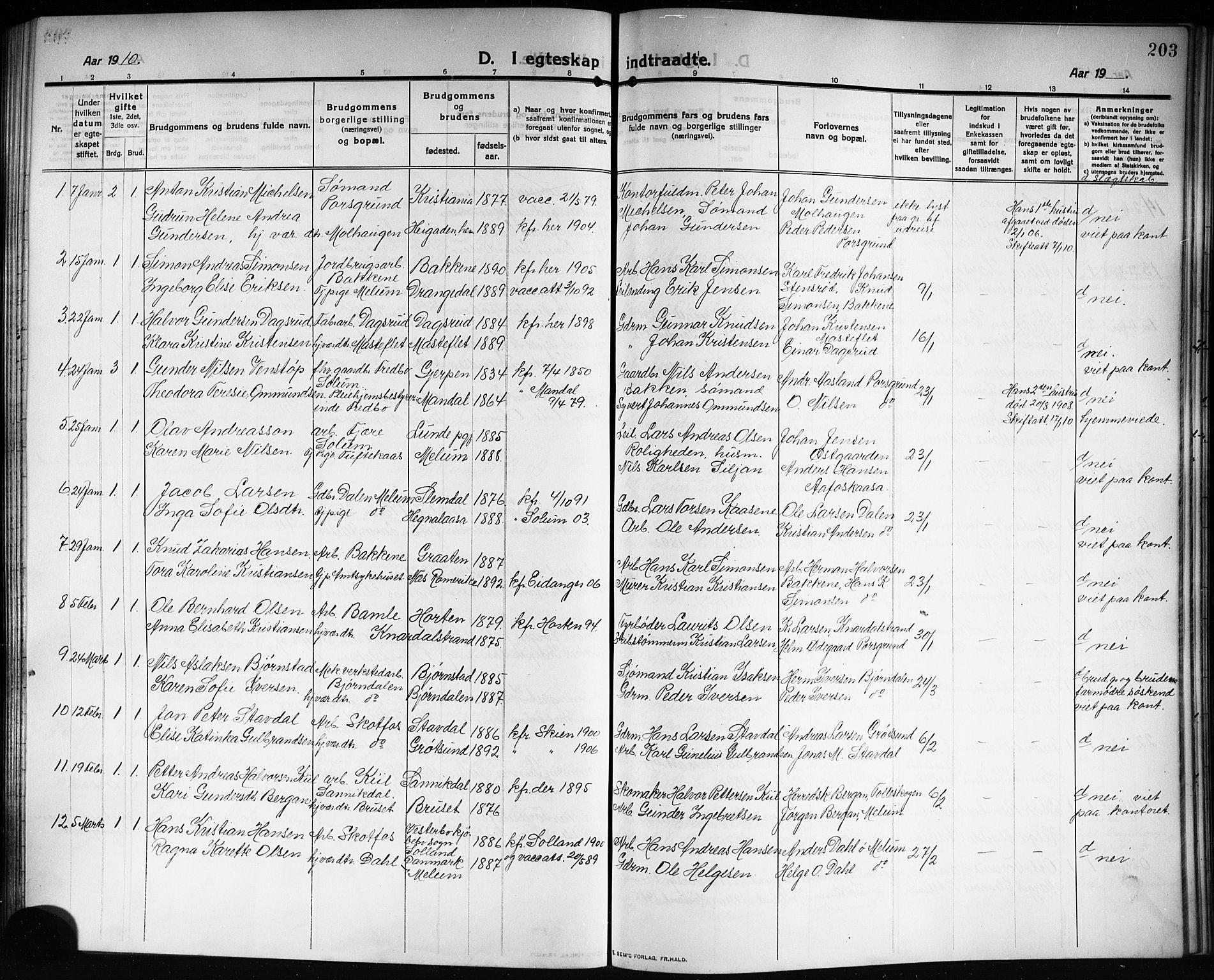 SAKO, Solum kirkebøker, G/Ga/L0009: Klokkerbok nr. I 9, 1909-1922, s. 203