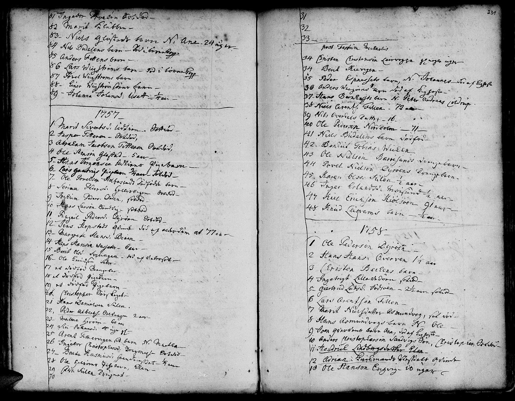SAT, Ministerialprotokoller, klokkerbøker og fødselsregistre - Sør-Trøndelag, 634/L0525: Ministerialbok nr. 634A01, 1736-1775, s. 231