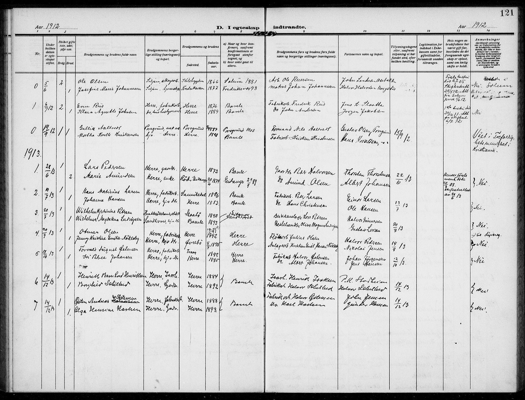 SAKO, Bamble kirkebøker, F/Fc/L0001: Ministerialbok nr. III 1, 1909-1916, s. 121