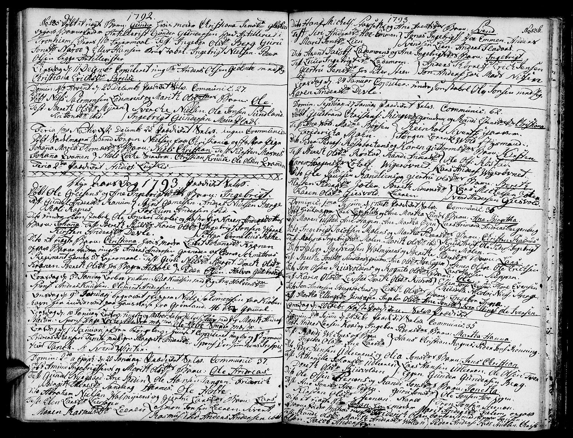 SAT, Ministerialprotokoller, klokkerbøker og fødselsregistre - Sør-Trøndelag, 604/L0180: Ministerialbok nr. 604A01, 1780-1797, s. 135-136