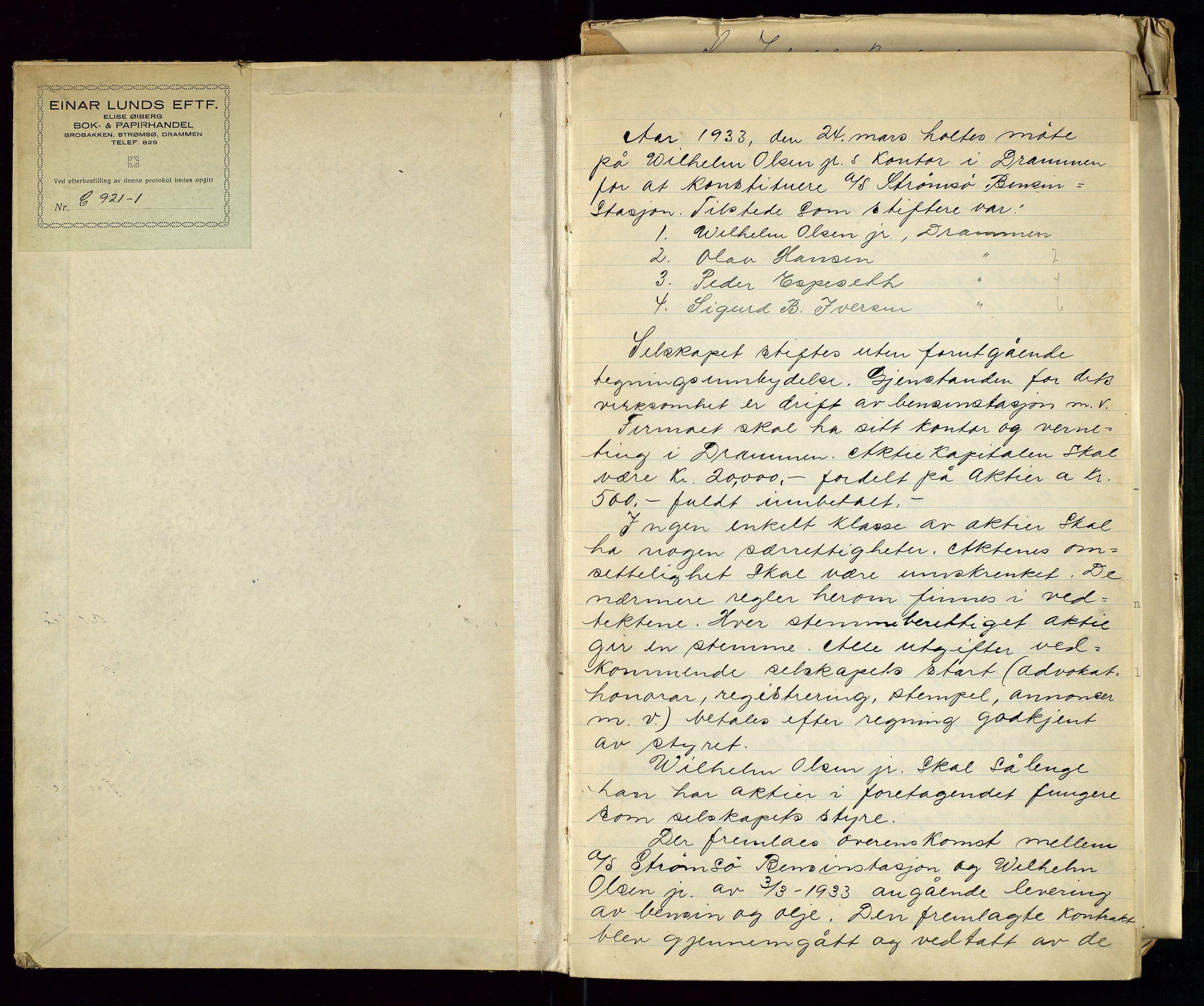 SAST, PA 1517 - A/S Strømsø Bensinstasjon, A/L0001: Referatprotokoll, 1933-1938, s. 2