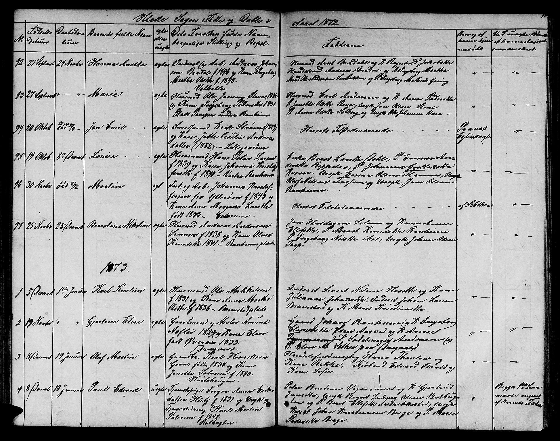 SAT, Ministerialprotokoller, klokkerbøker og fødselsregistre - Sør-Trøndelag, 606/L0311: Klokkerbok nr. 606C07, 1860-1877, s. 92