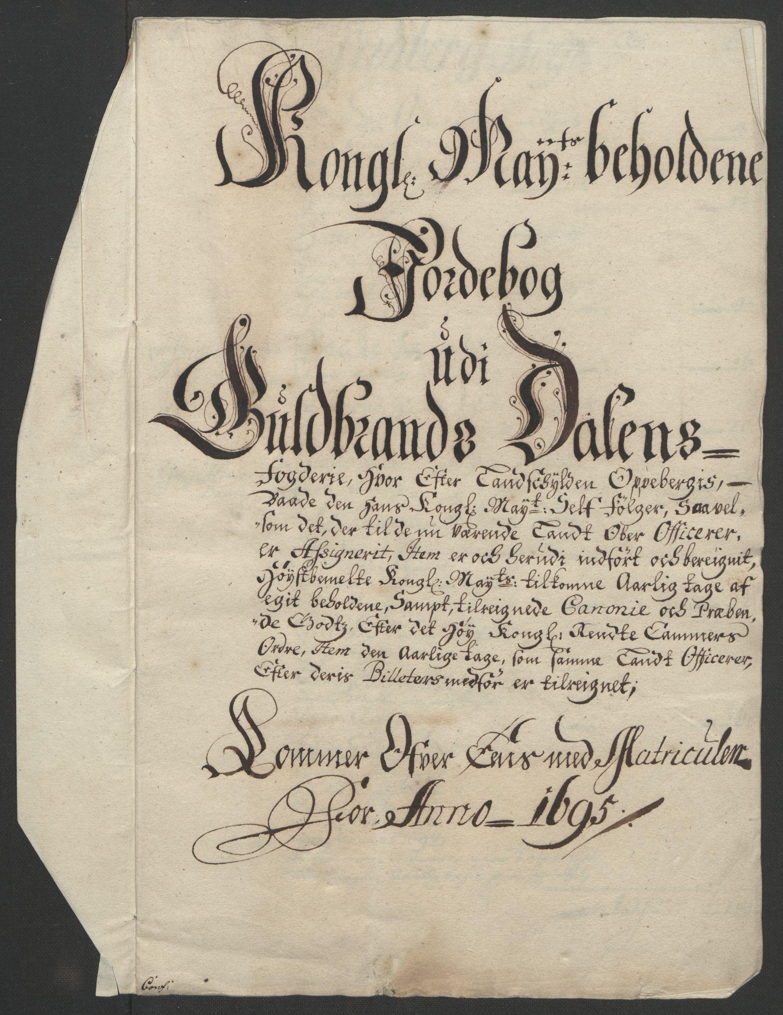RA, Rentekammeret inntil 1814, Reviderte regnskaper, Fogderegnskap, R17/L1169: Fogderegnskap Gudbrandsdal, 1695, s. 23