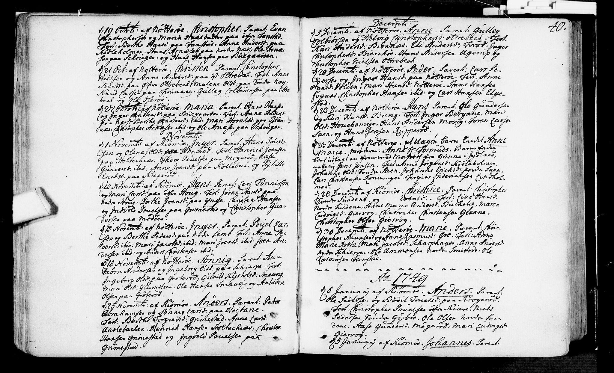 SAKO, Nøtterøy kirkebøker, F/Fa/L0002: Ministerialbok nr. I 2, 1738-1790, s. 40