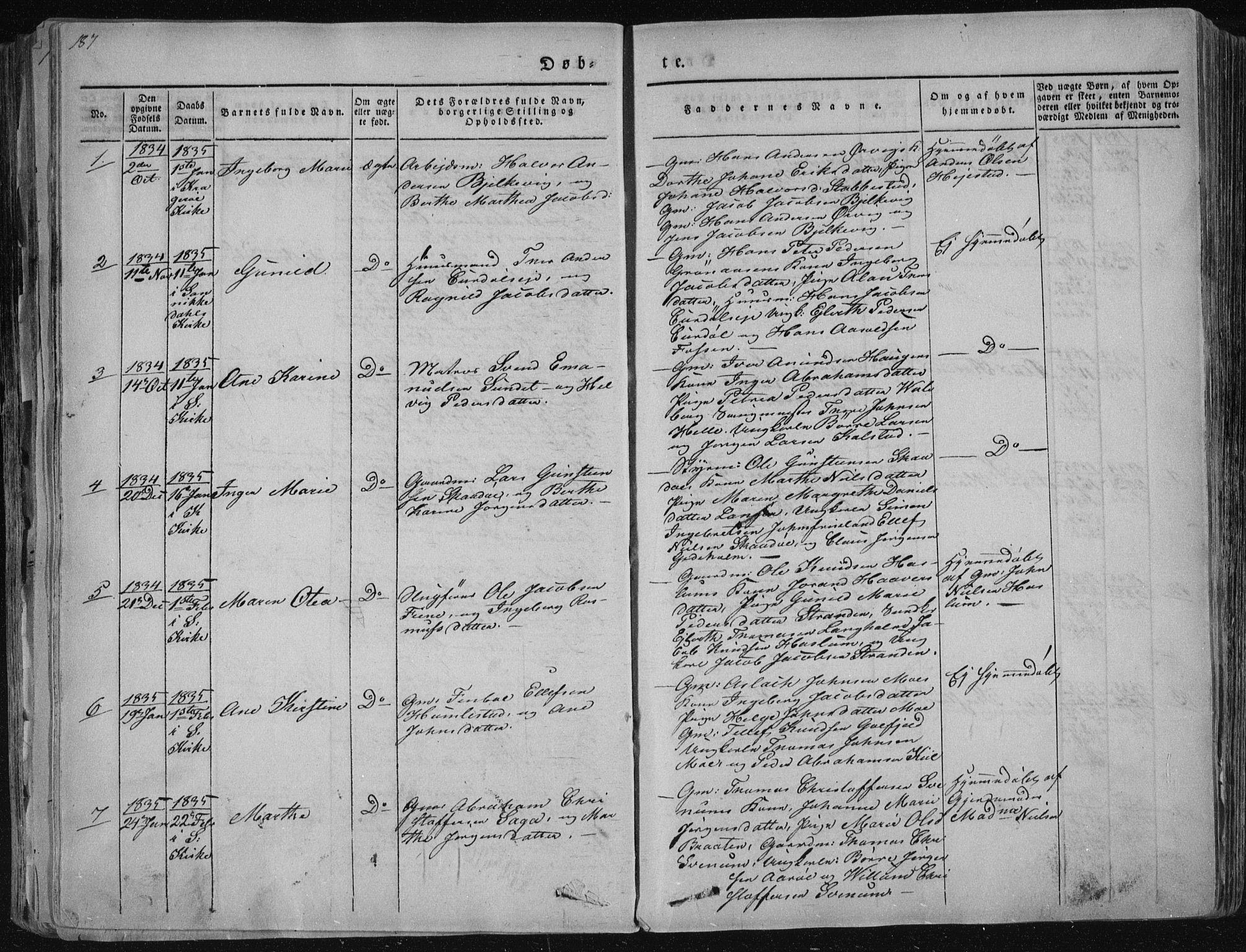 SAKO, Sannidal kirkebøker, F/Fa/L0006: Ministerialbok nr. 6, 1831-1847, s. 187