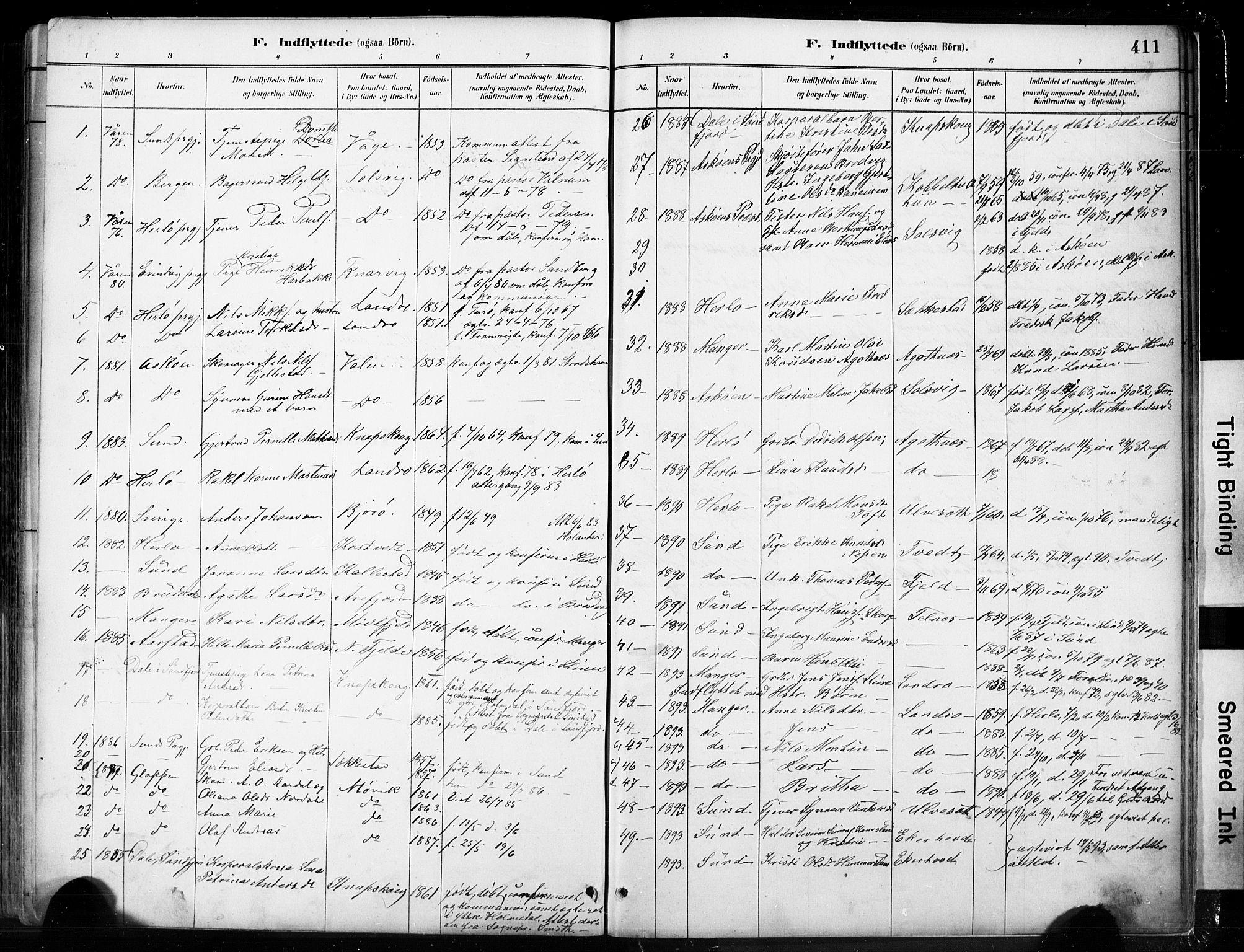 SAB, Fjell sokneprestembete, H/Hab: Klokkerbok nr. A 4, 1880-1899, s. 411