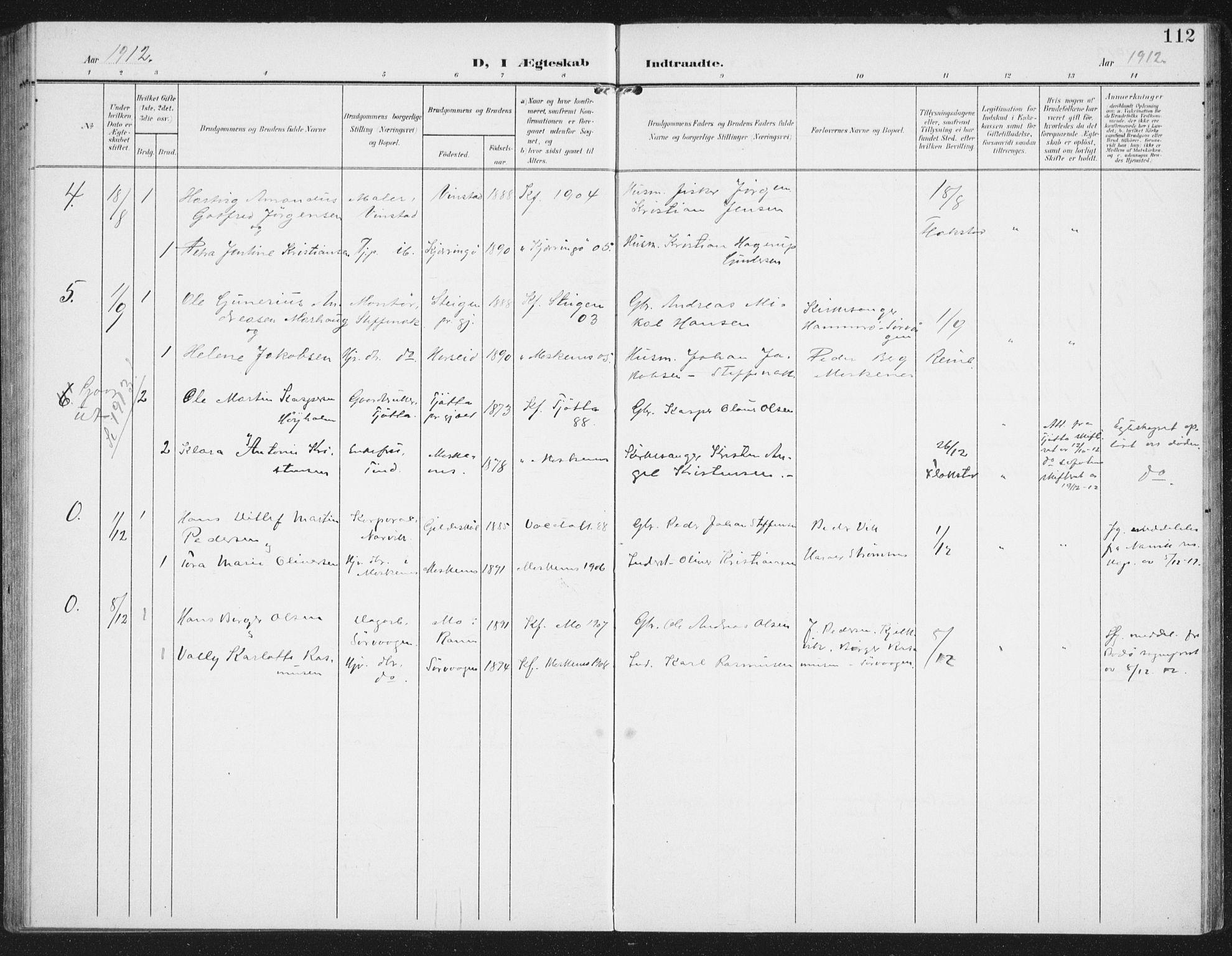 SAT, Ministerialprotokoller, klokkerbøker og fødselsregistre - Nordland, 886/L1221: Ministerialbok nr. 886A03, 1903-1913, s. 112